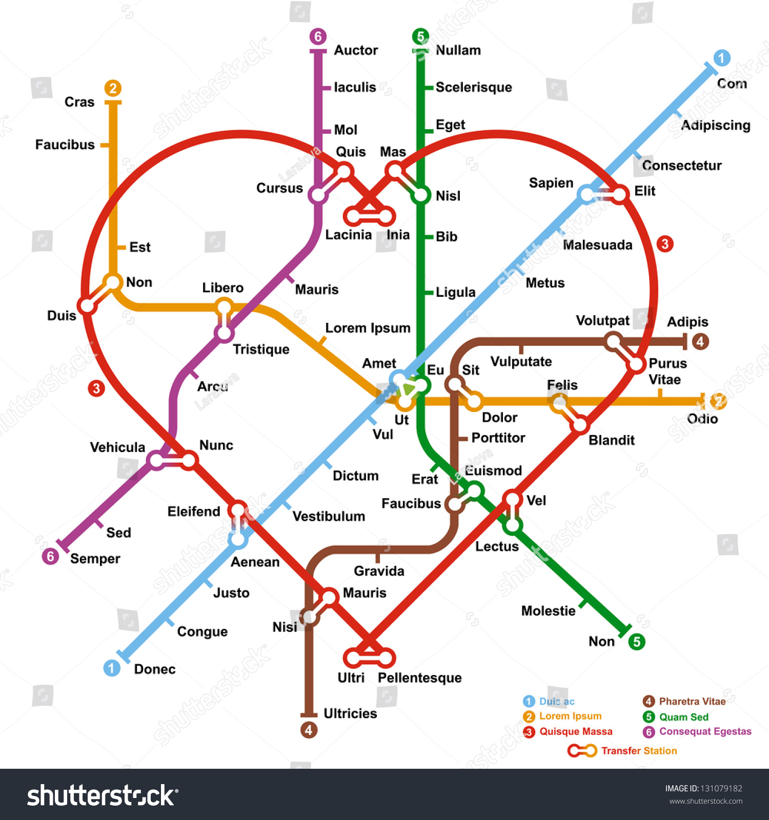Fictional Metro Map Shape Heart Vector Stock Vector