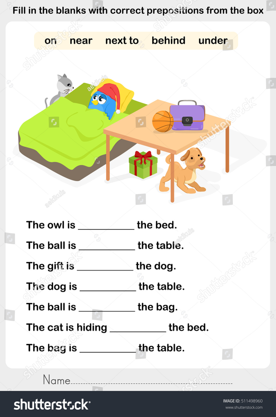 Fill Blanks Correct Prepositions Preposition Worksheet Stock Vector
