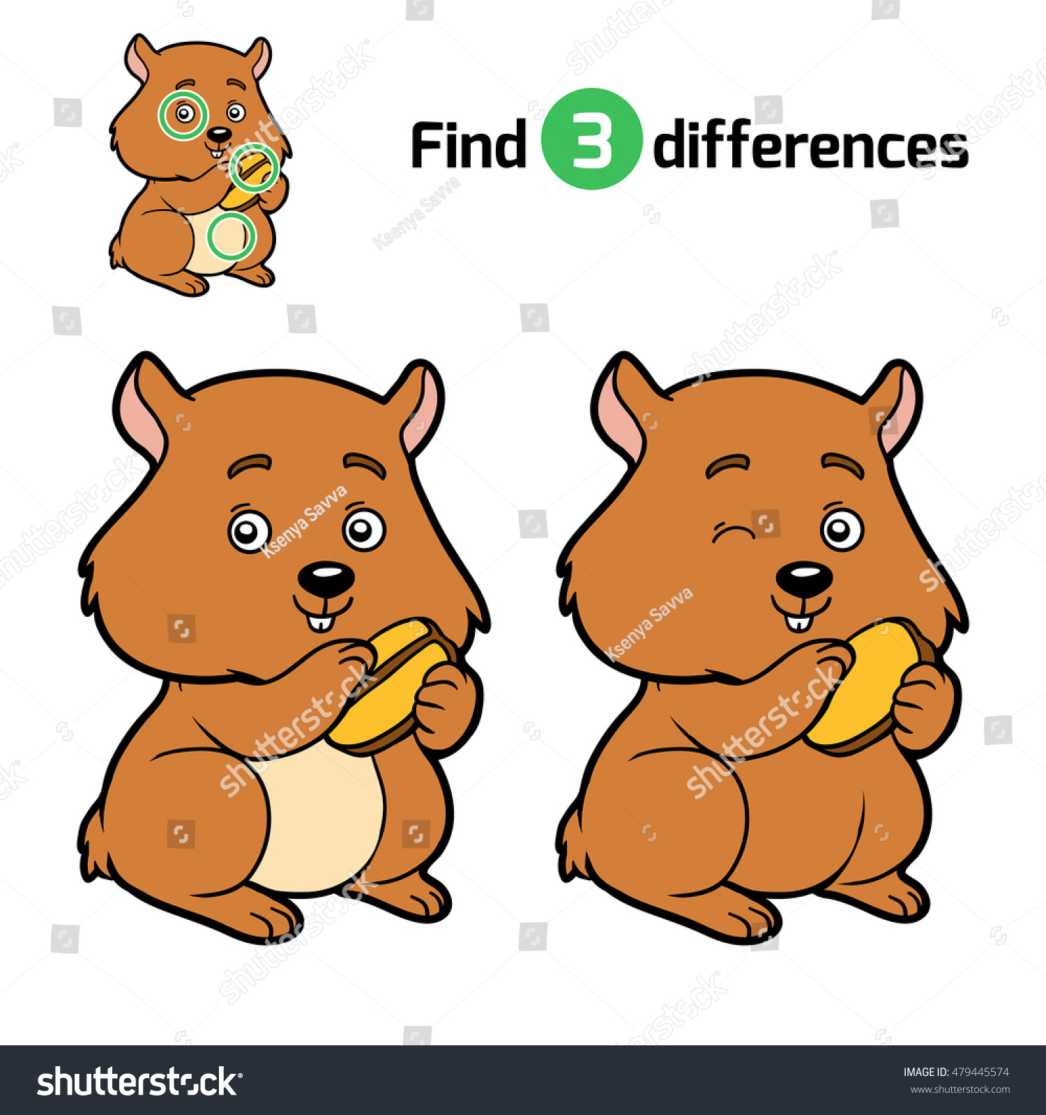 Find Differences Education Game Children Hamster Stock