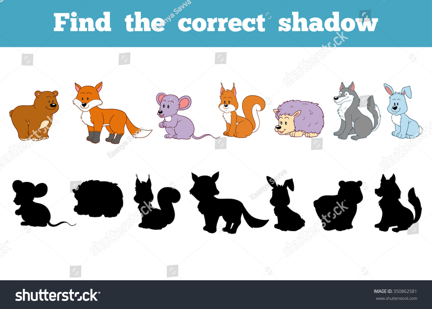 Find Correct Shadow Forest Animals Stock Vector