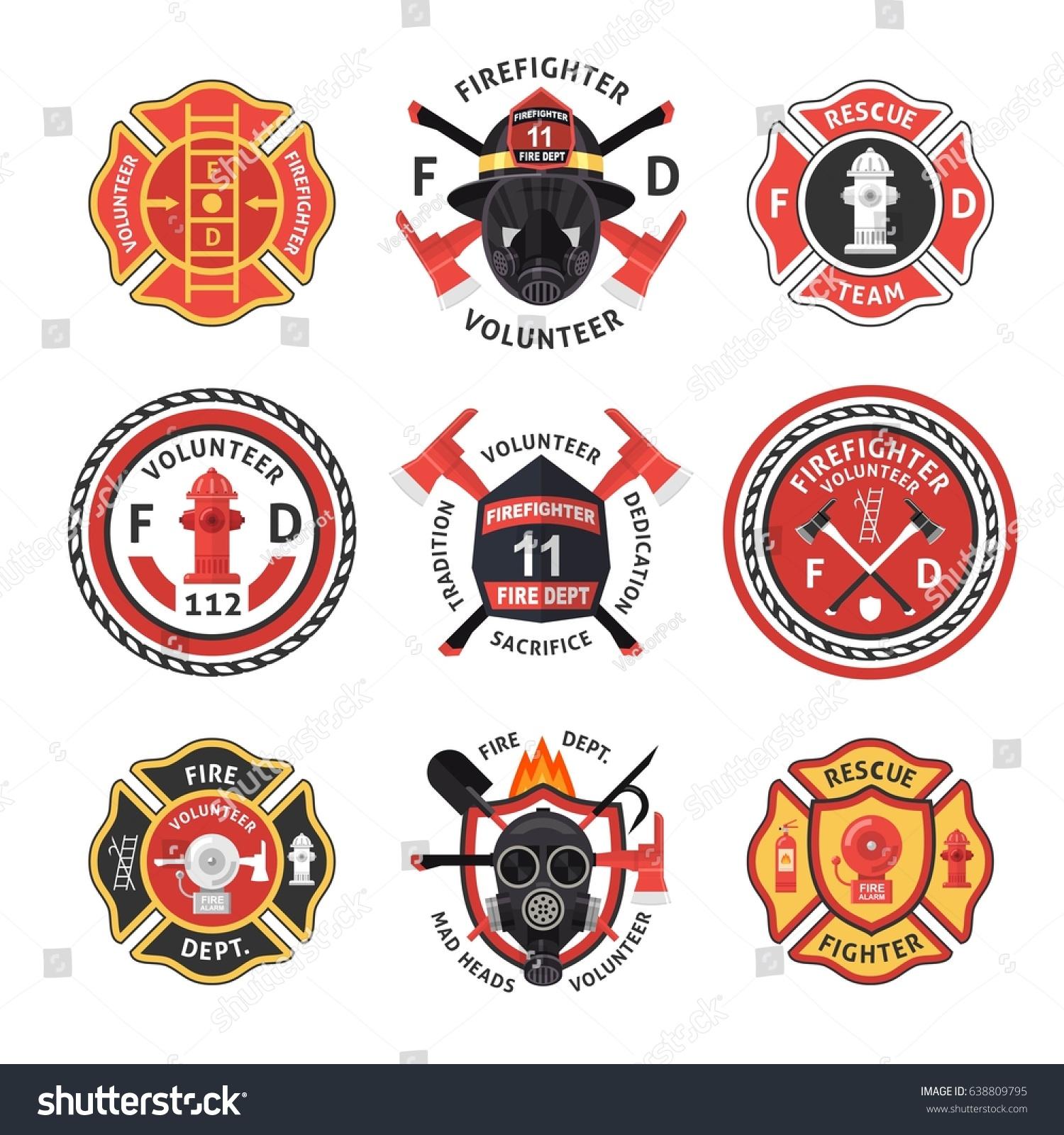 Firefighter Label Emblem Sticker Set Isolated Stock Vector