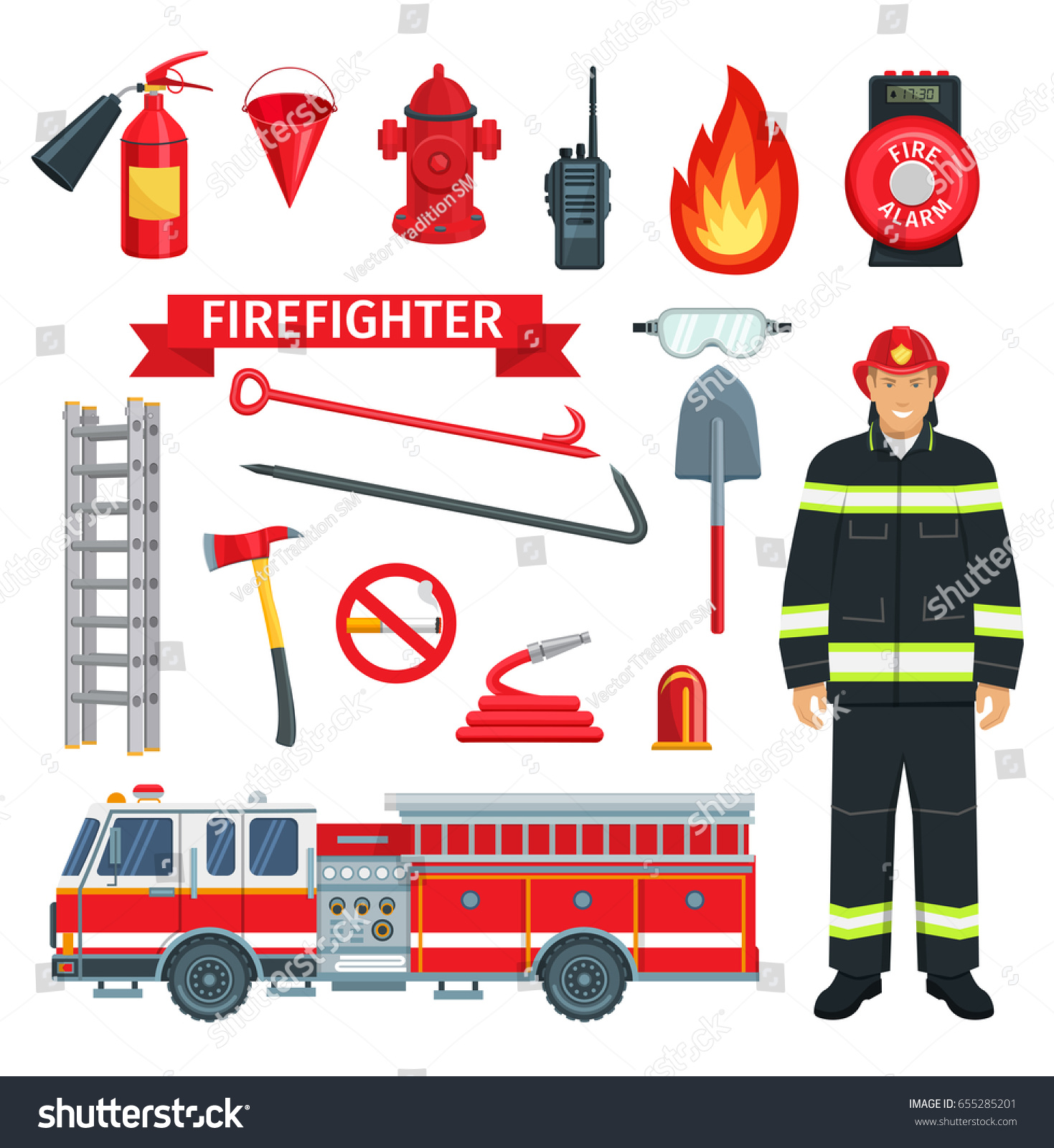 Fireman Firefighter Profession Fire Extinguishing Tools