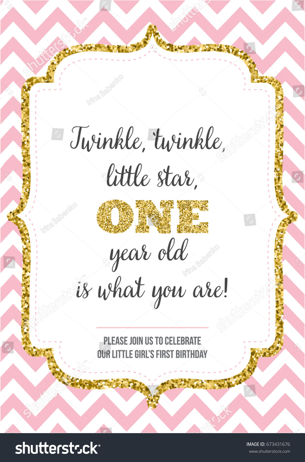https www shutterstock com image vector first birthday invitation girl one year 673431676
