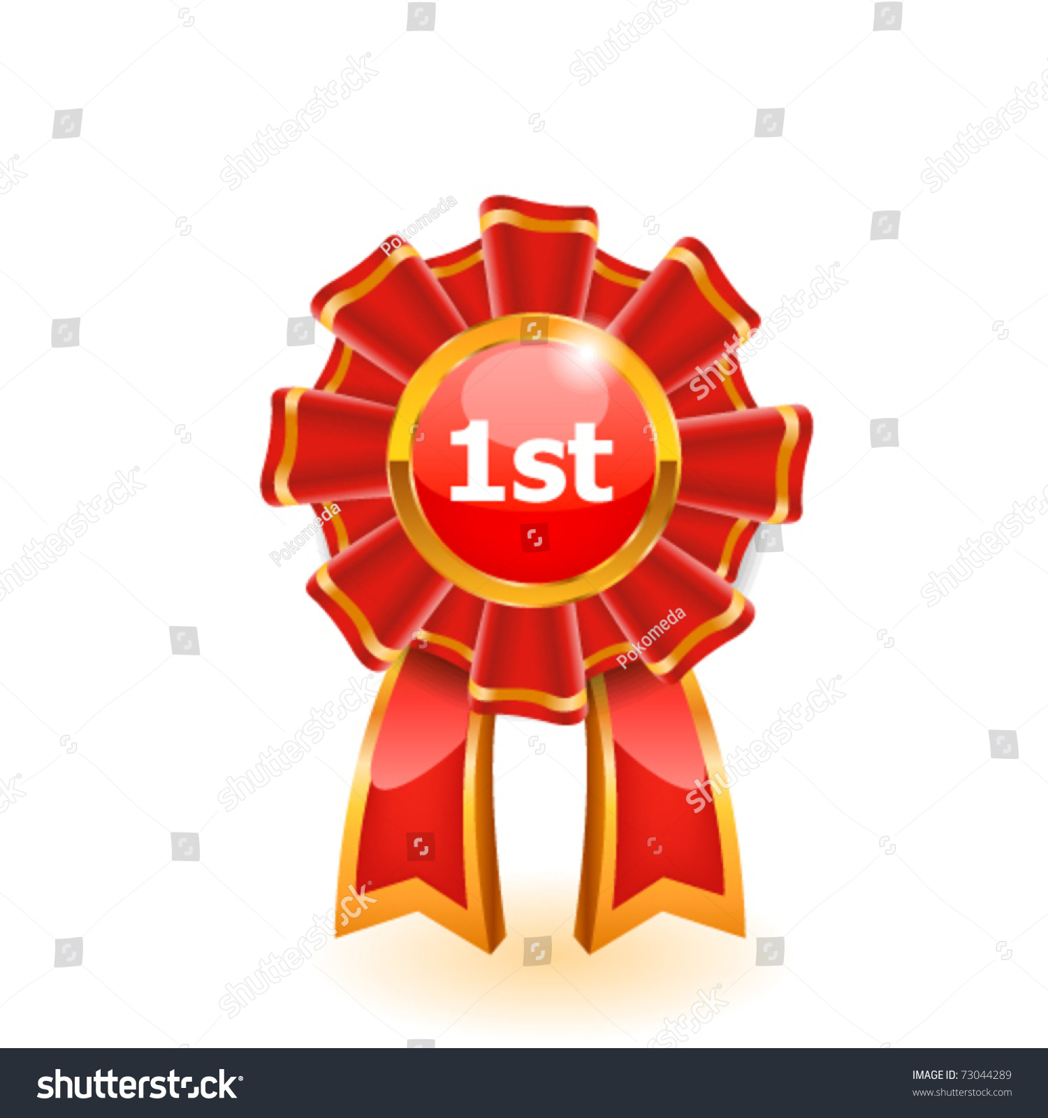 First Place Red Ribbon Vector Stock Vector