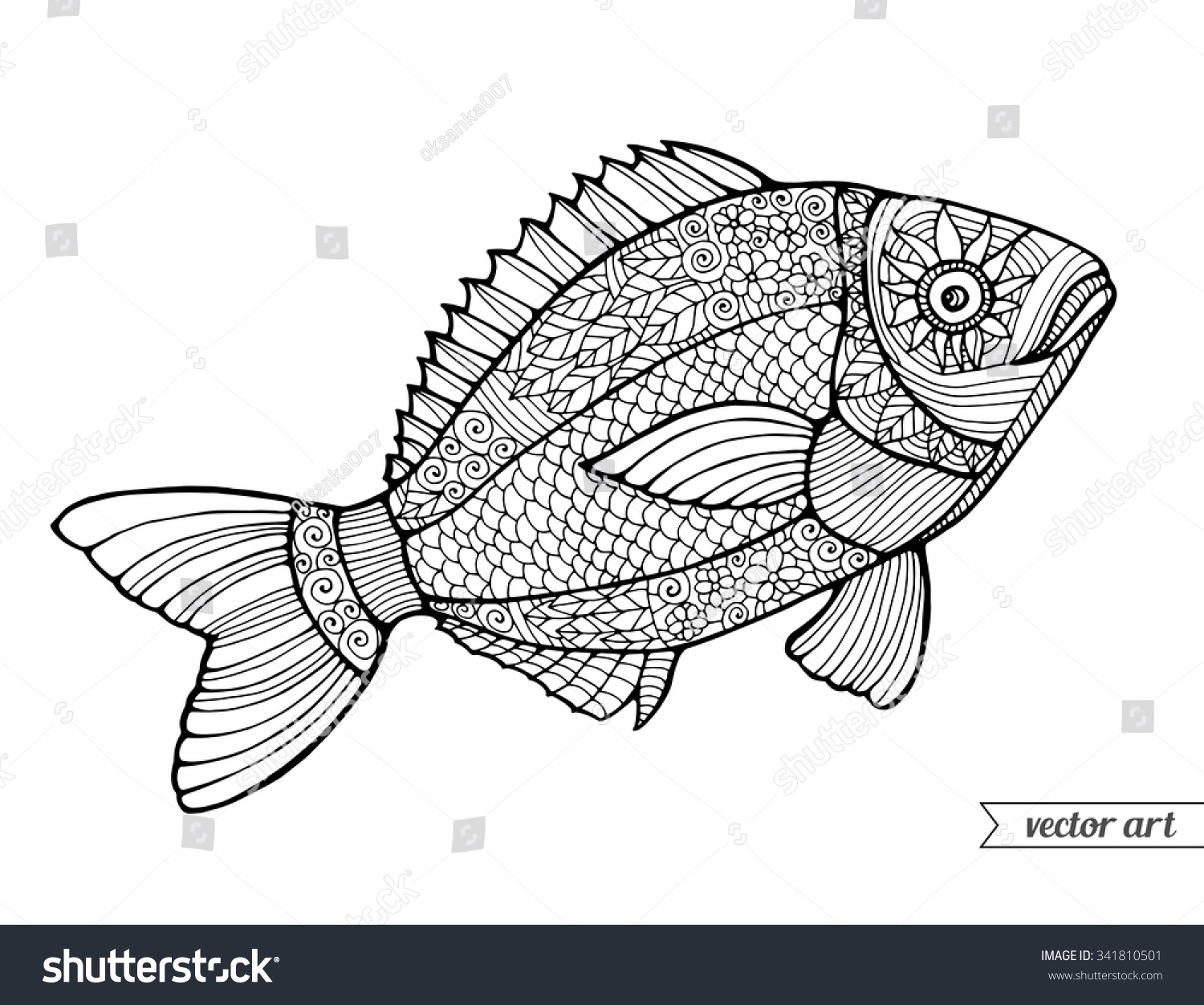 Fish Ornamental Graphic Fish Floral Line Pattern Vector