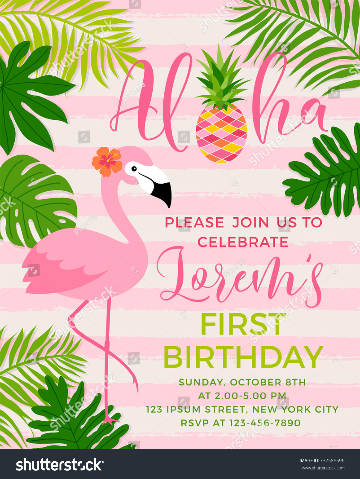 https www shutterstock com image vector flamingo tropical leaf illustration party invitation 732586696