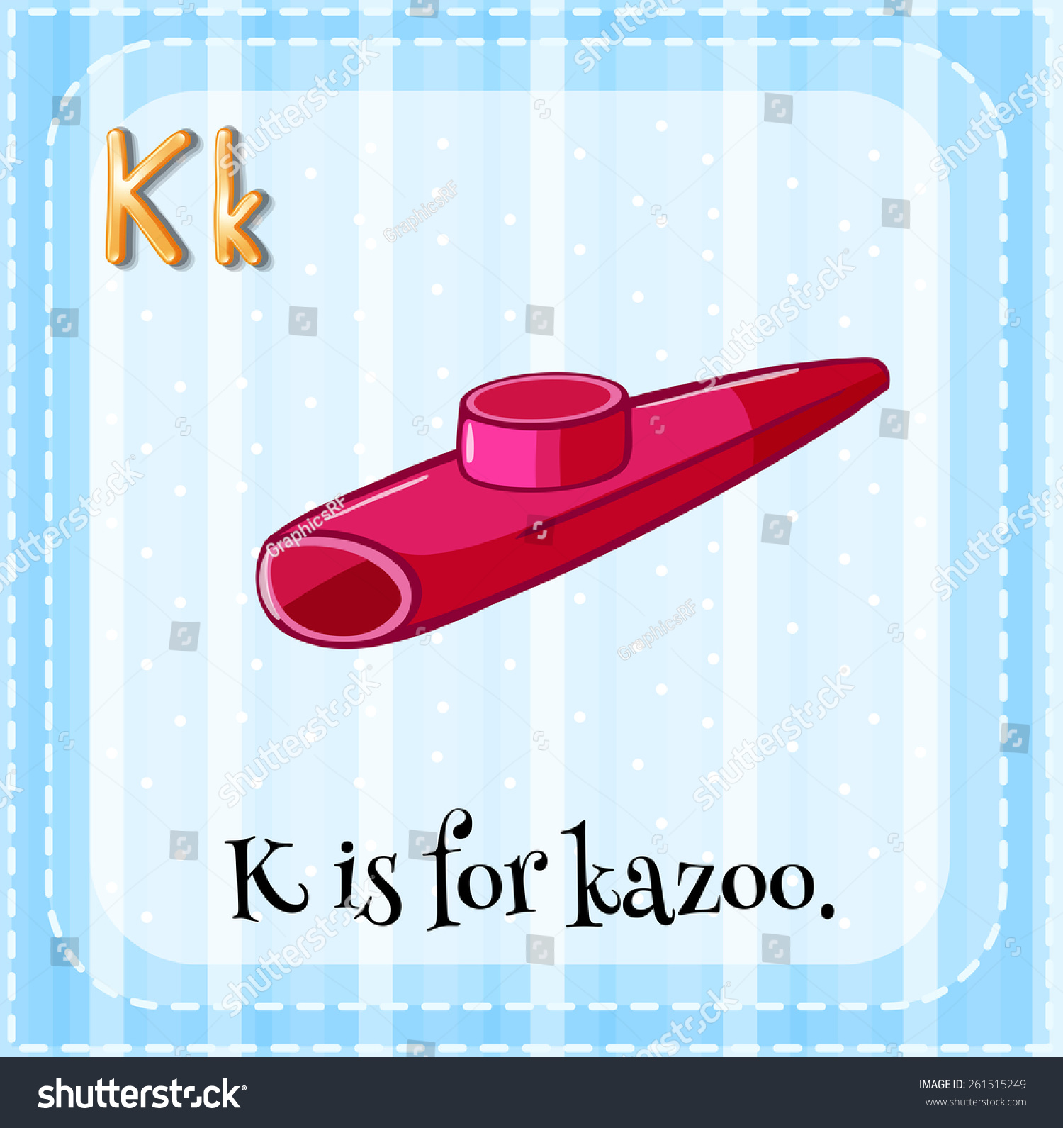 Flash Card Letter K Is For Kazoo Stock Vector Illustration