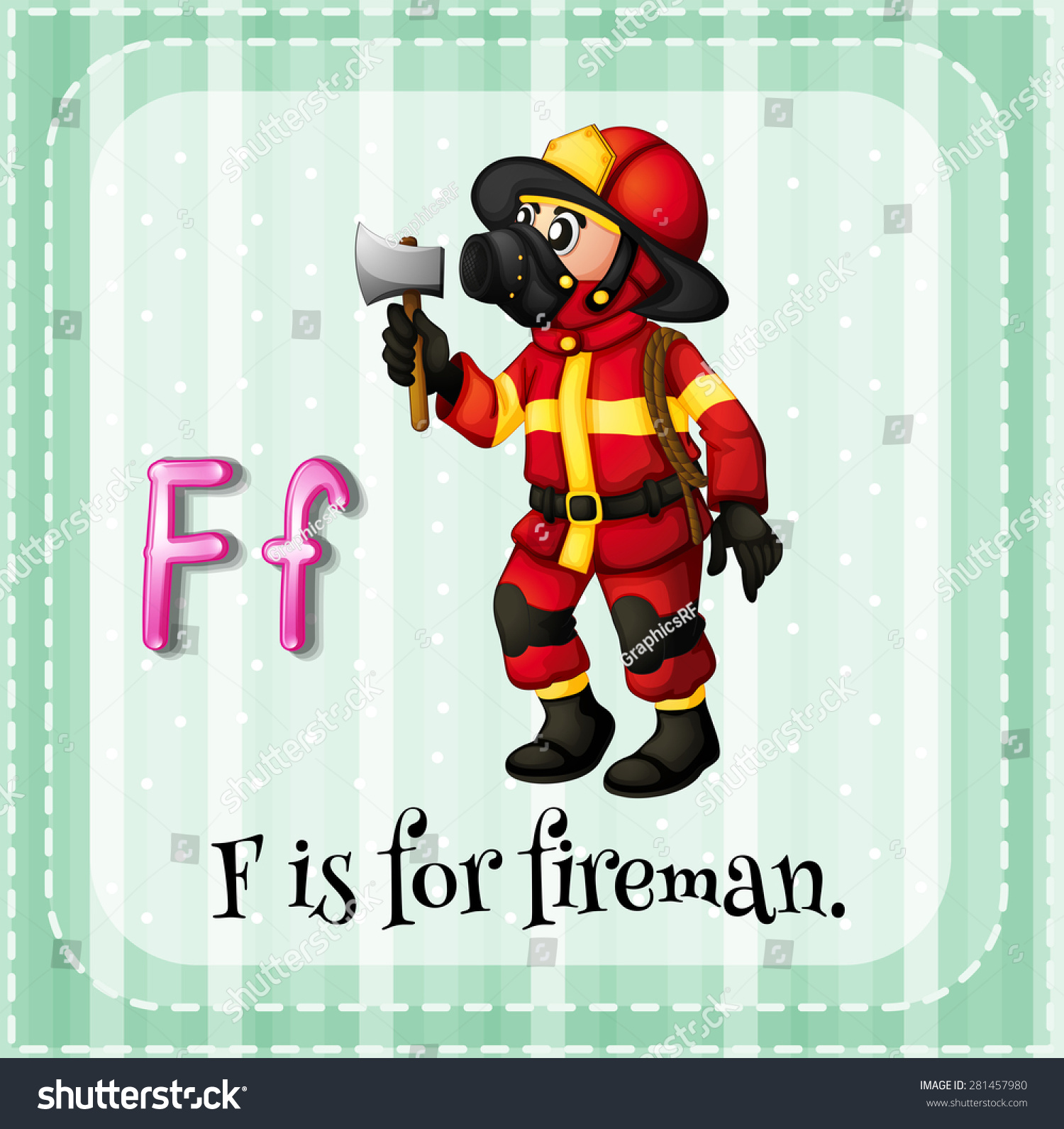 Flashcard Letter F Is For Fireman Stock Vector Illustration Shutterstock