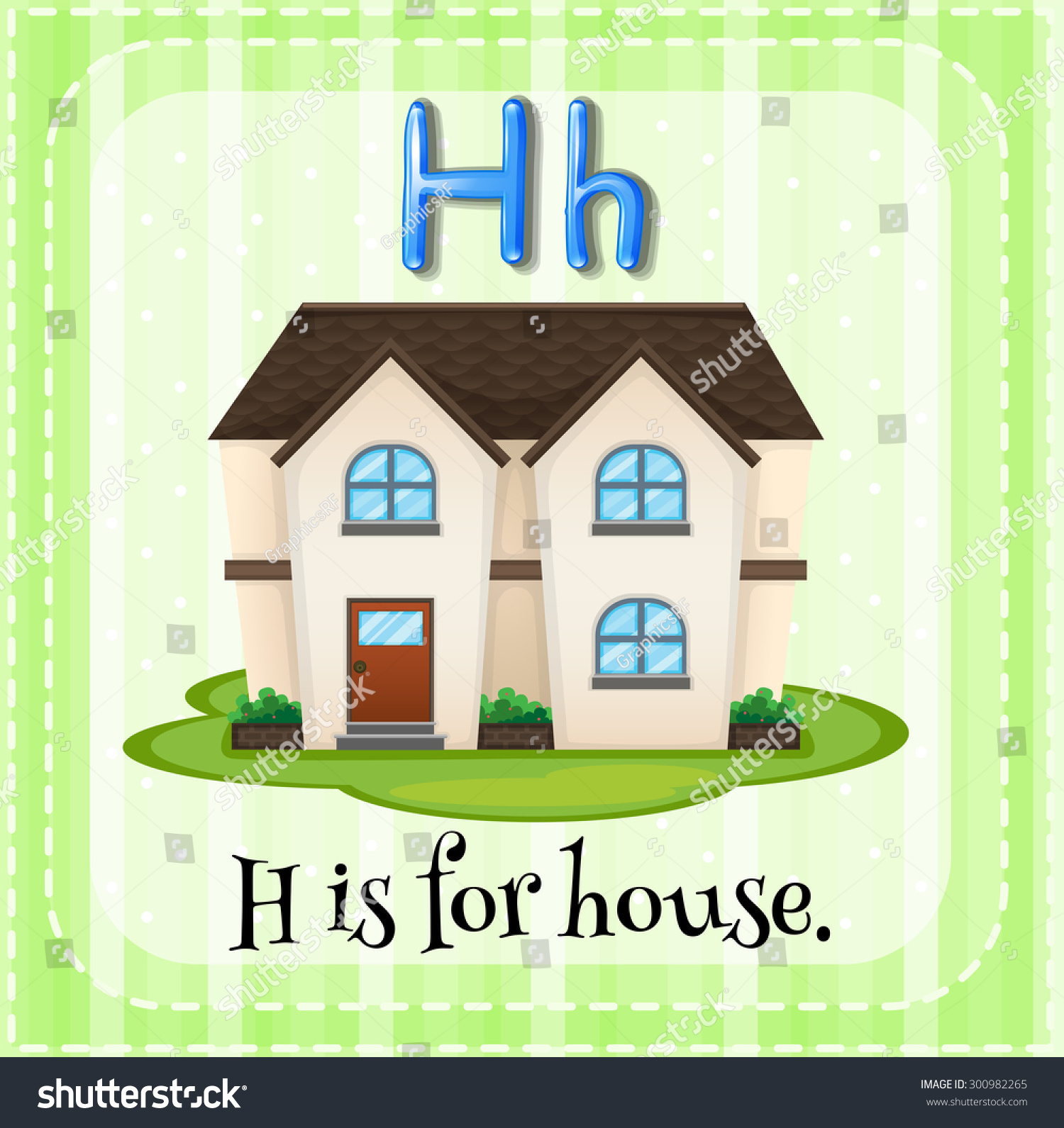 Flashcard Letter H Is For House Stock Vector Illustration