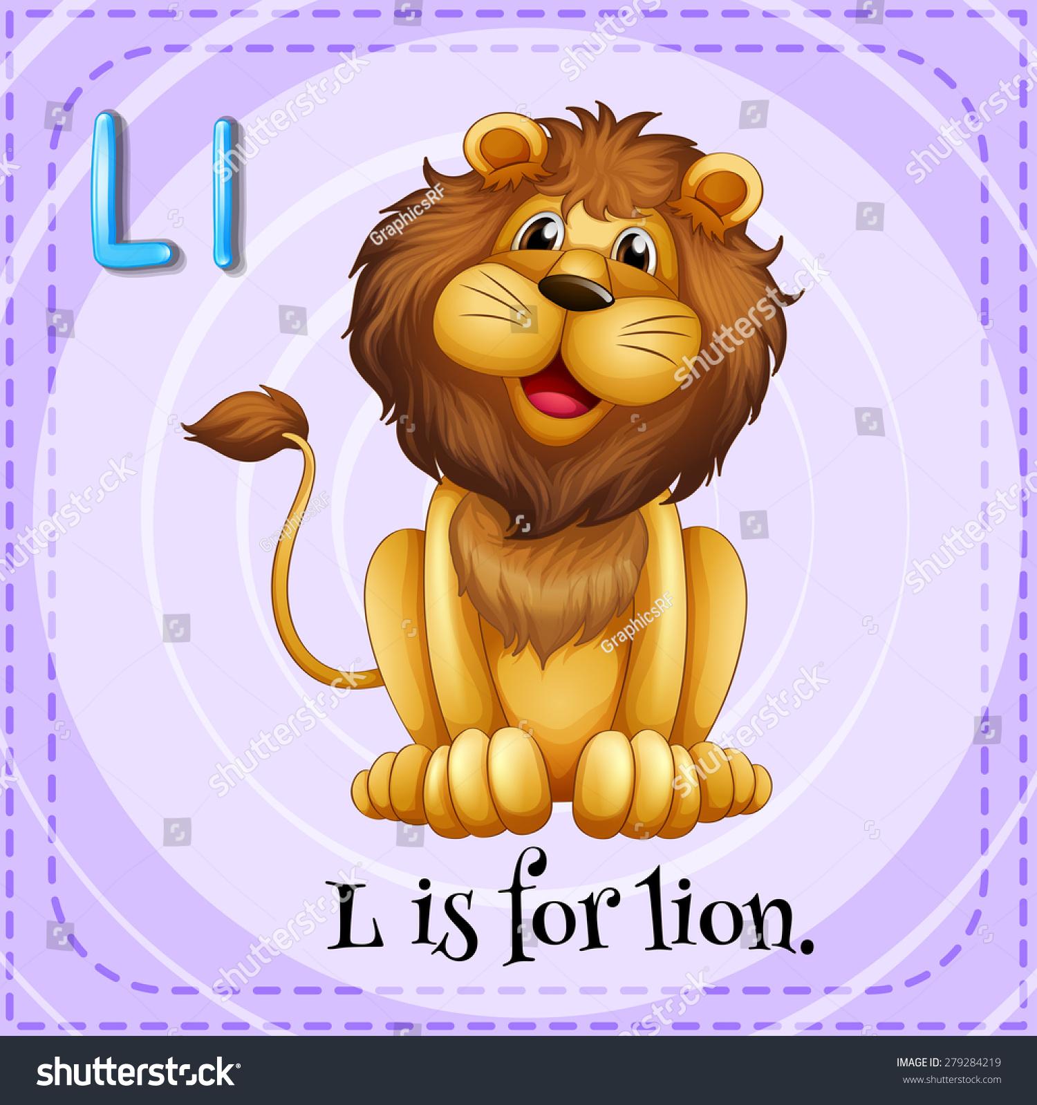 Flashcard Letter L Lion Stock Vector