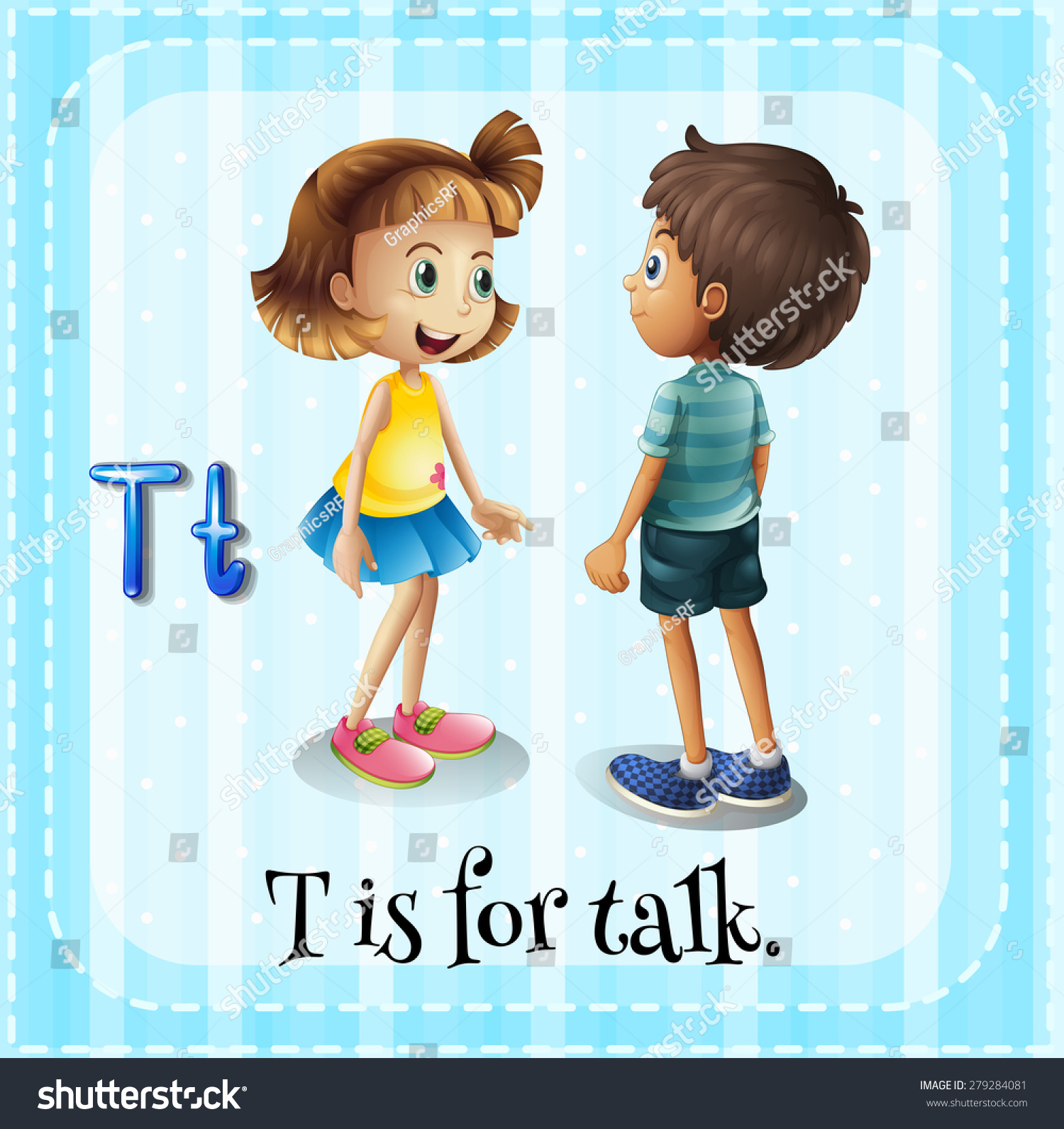 Flashcard Letter T Is For Talking Stock Vector