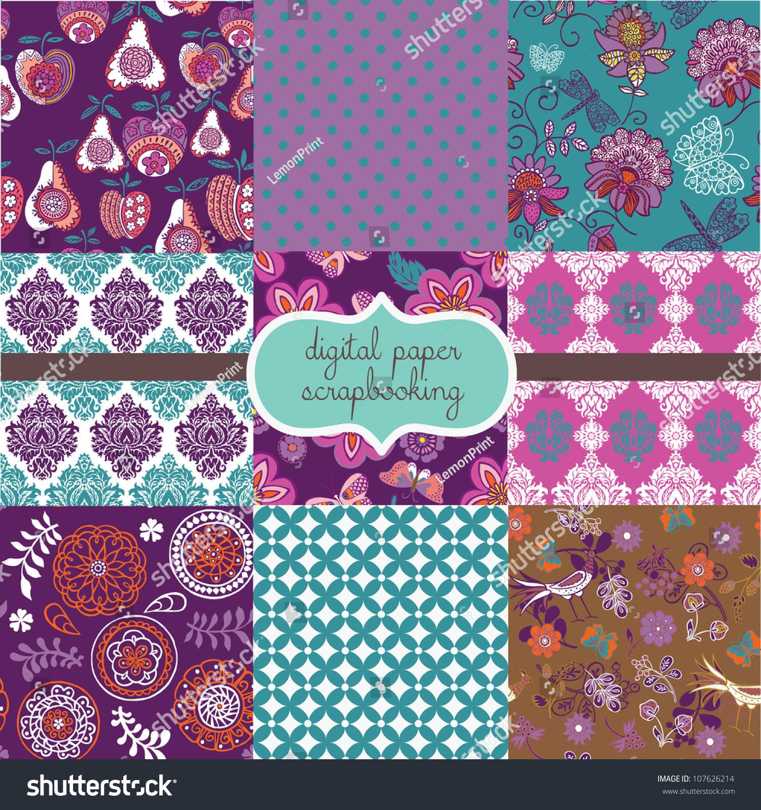 Floral Digital Scrapbook Paper Stock Vector Illustration 107626214 : Shutterstock