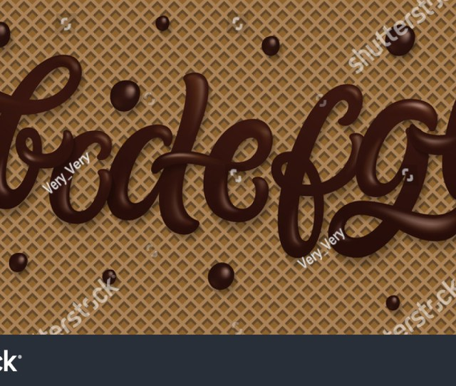 Font Set With Letters A B C D E F G H I Latin Alphabet Made Of Dark Melted Chocolate With Waffle Background Dessert Typeface Set