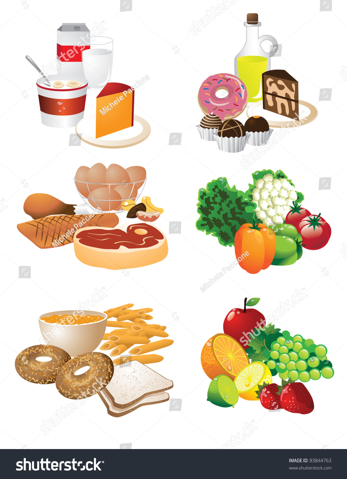 Food Groups Collection Foods Grouped By Stock Vector