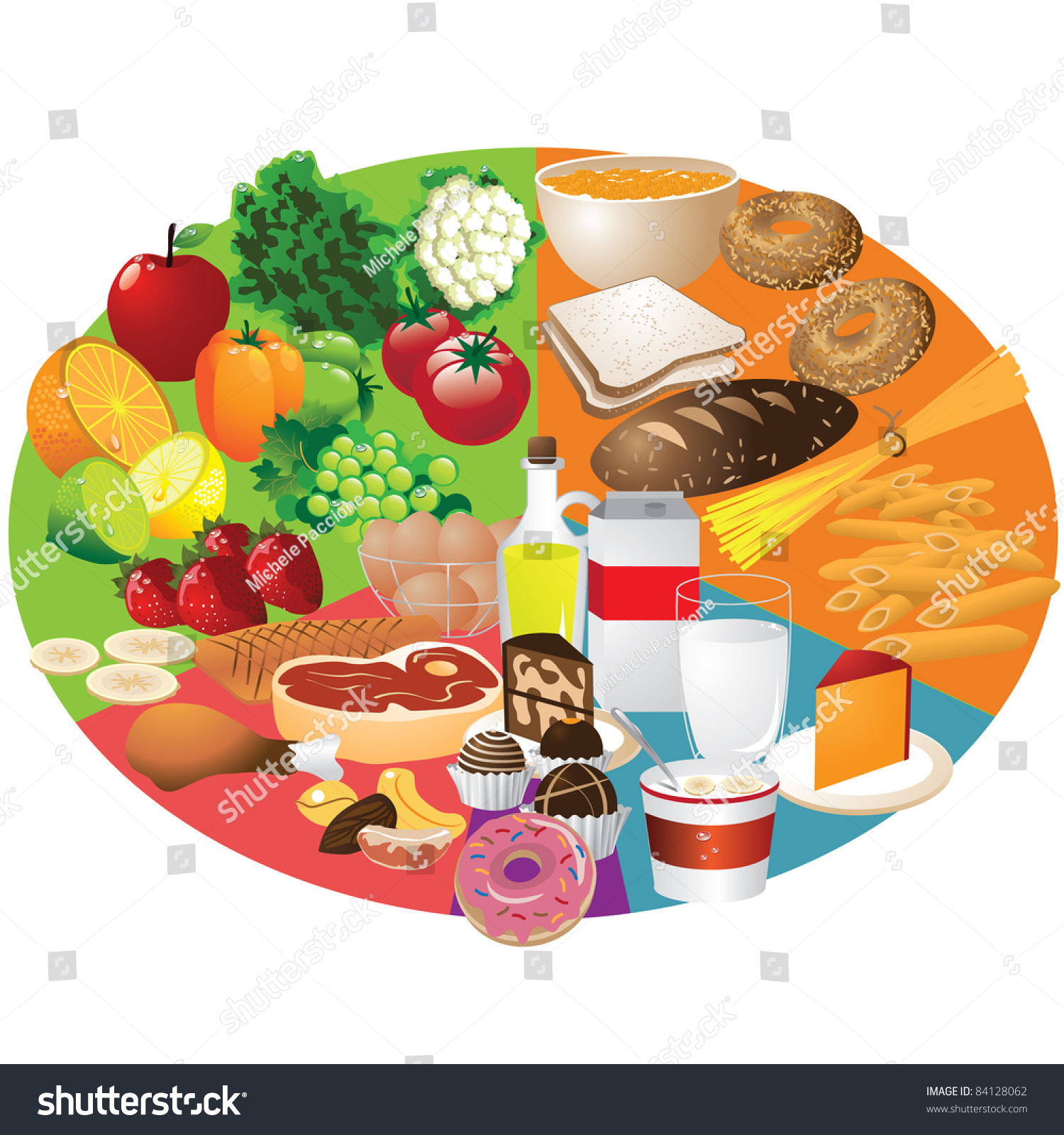 Food Groups Food Groups Arranged New Stock Vector