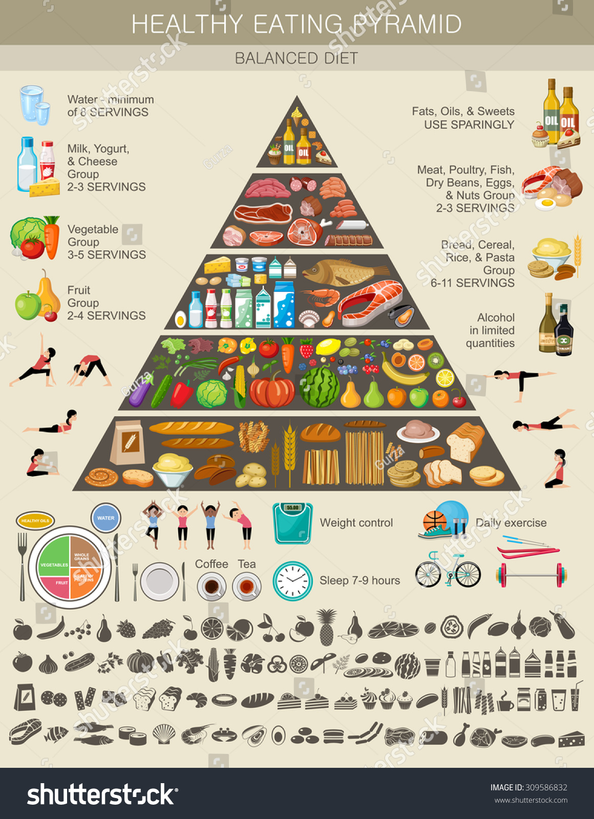 Food Pyramid Healthy Eating Infographic Recommendations