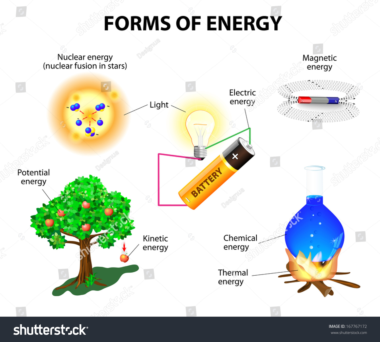 Forms Energy Kinetic Potential Mechanical Chemical Stock