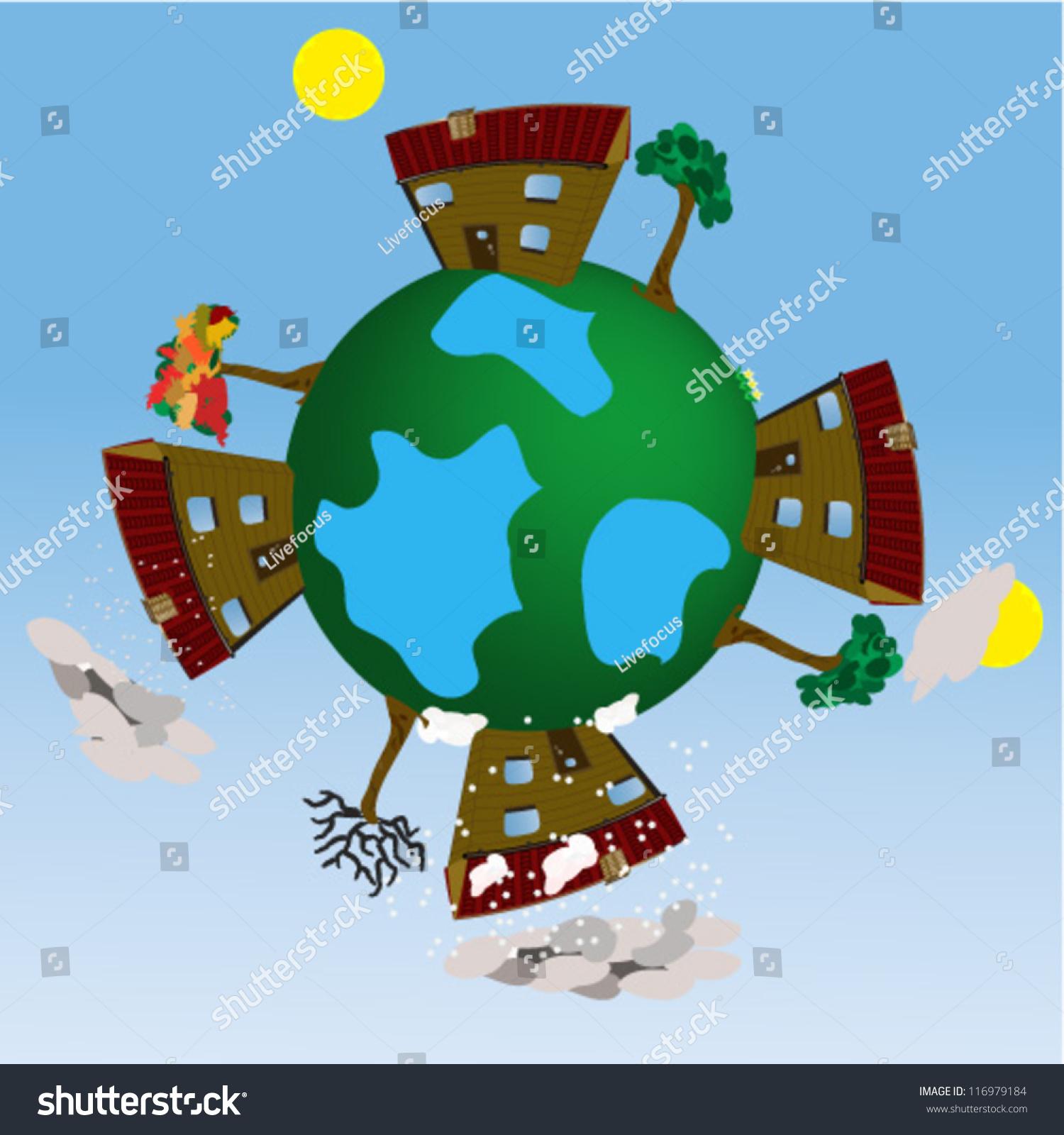 Four Seasons Earth Globe Illustrationfour Season Stock