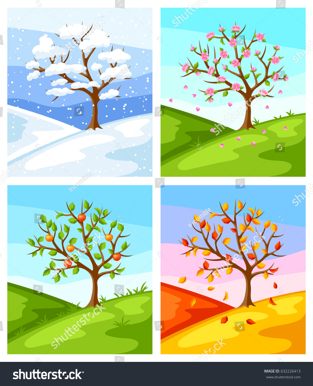 Four Seasons Illustration Tree Landscape Winter Stock