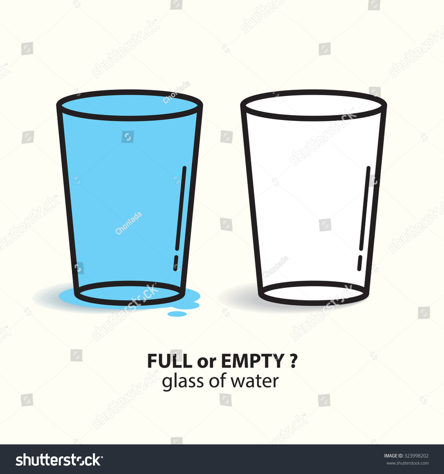 Full Or Empty Glass Of Water Vector Illustration