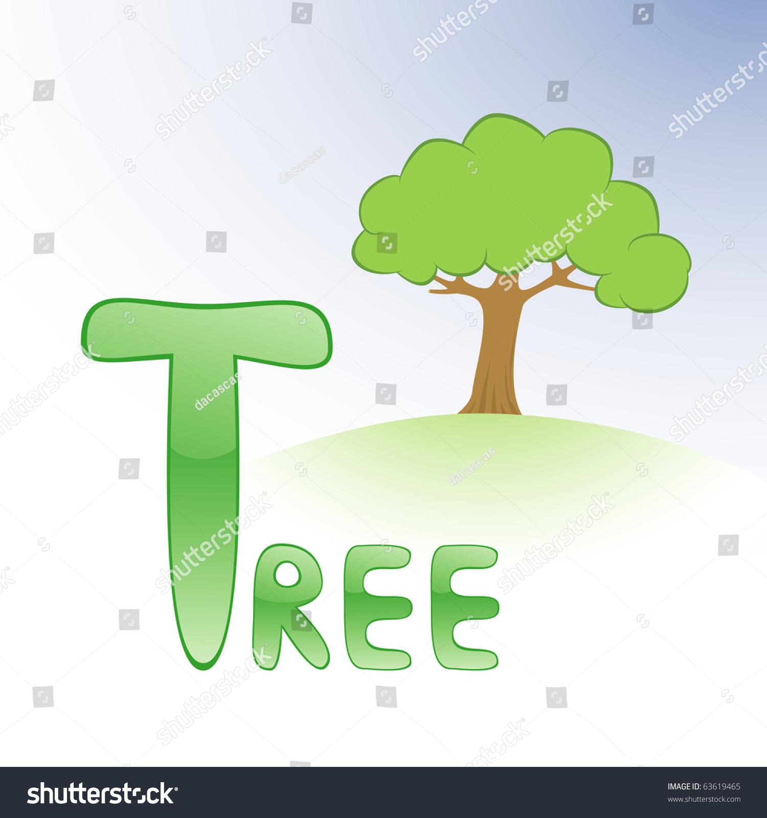 Funny Alphabet Children Tree Letter T Stock Vector