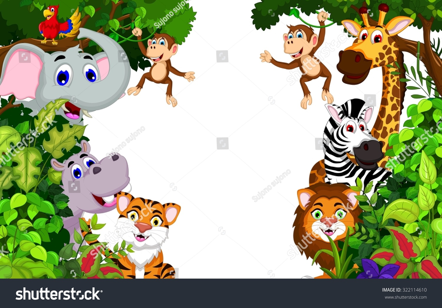 Funny Animal Cartoon Forest Background Stock Vector