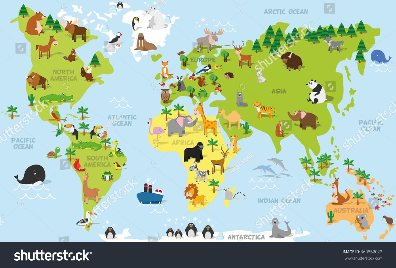 Funny Cartoon World Map Traditional Animals Stock Vector