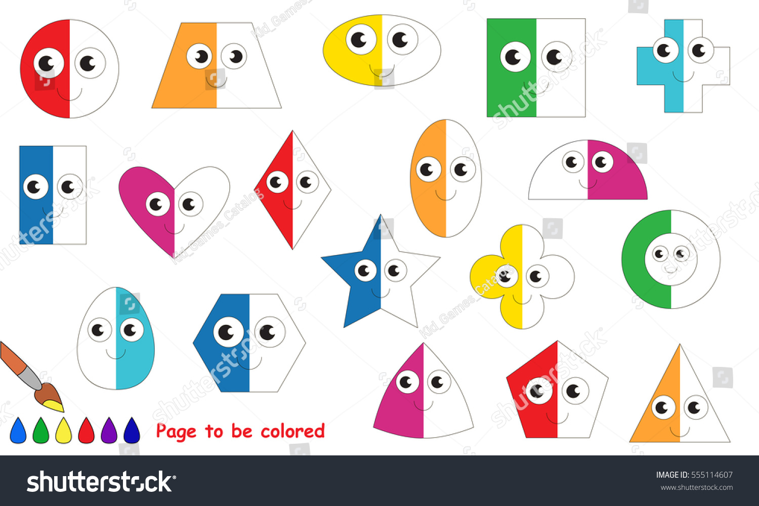 Funny Geometric Shapes Set Be Half Stock Vector