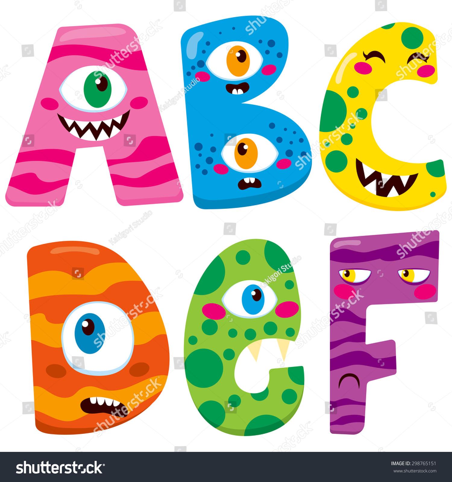 Funny Halloween Alphabet Cute B C Stock Vector