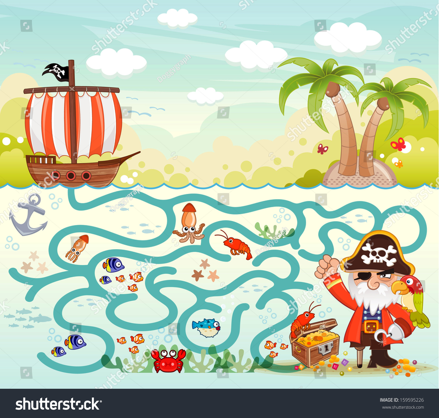Funny Maze Game Pirate Try Find Stock Vector