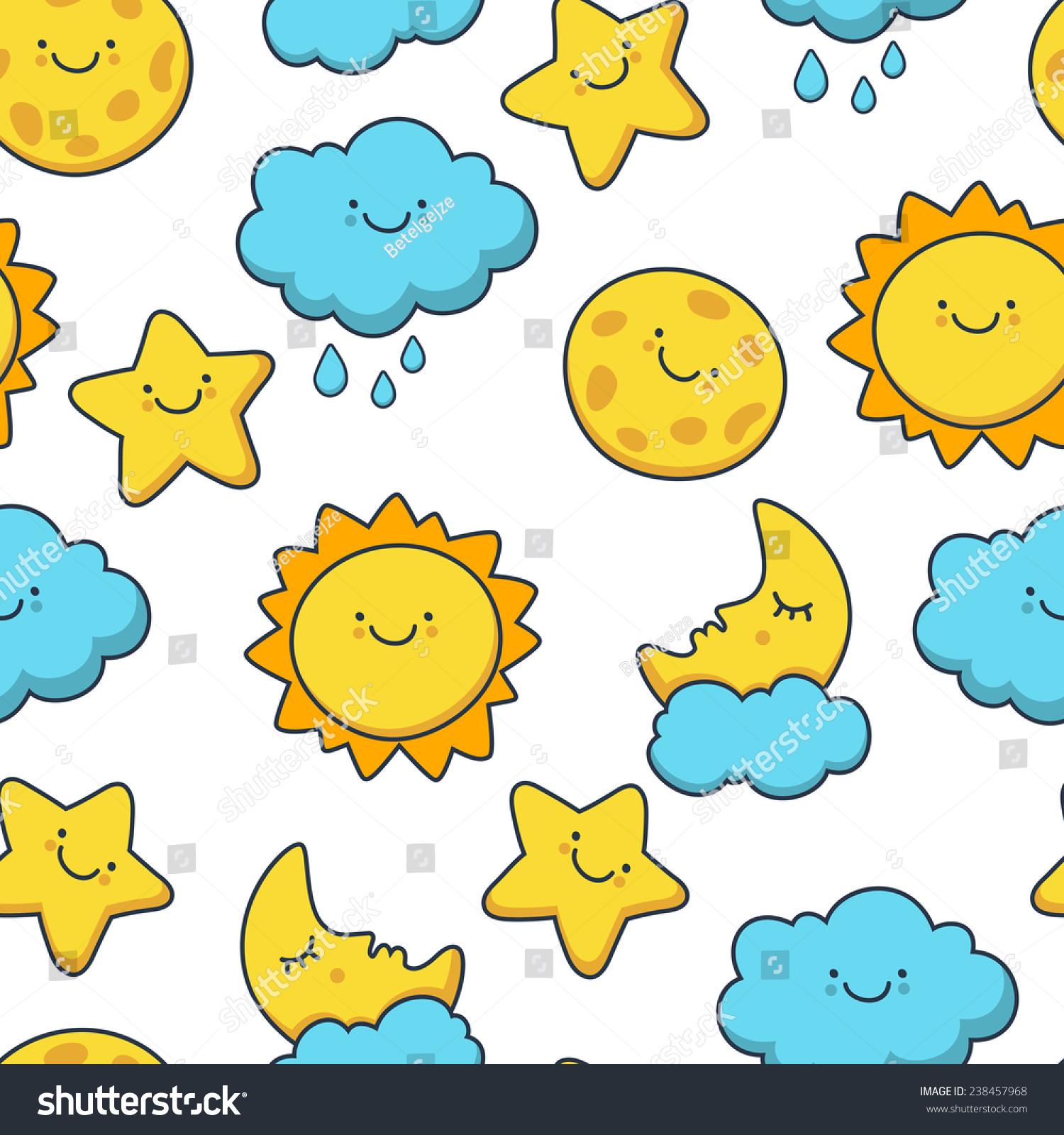 Funny Sketching Star Sun Cloud Moon Vector Seamless