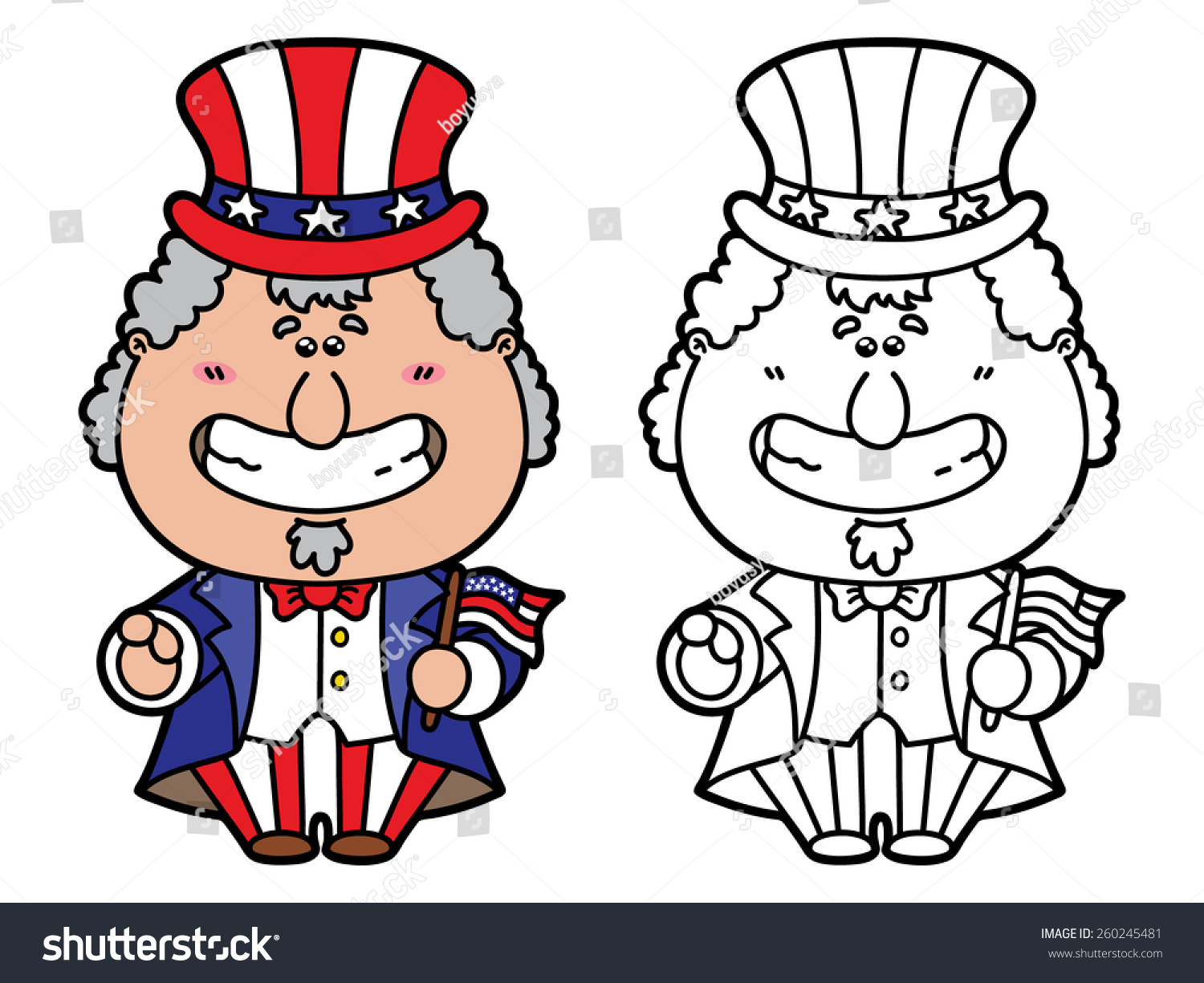 Funny Uncle Sam Vector Illustration Coloring Stock Vector