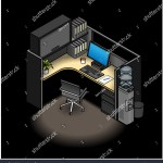 Furnished Office Cubicle Mid Height Partitions Stock Vector