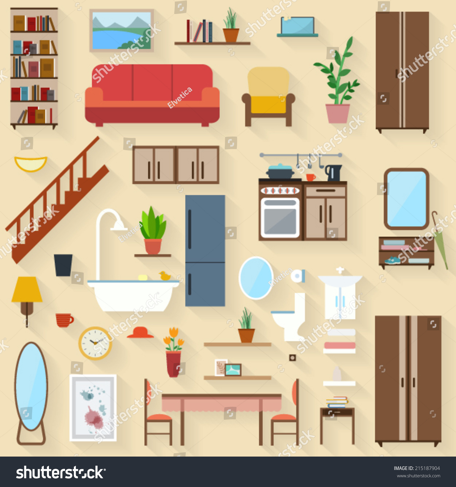 Furniture Set Rooms House Flat Style Vectores En Stock