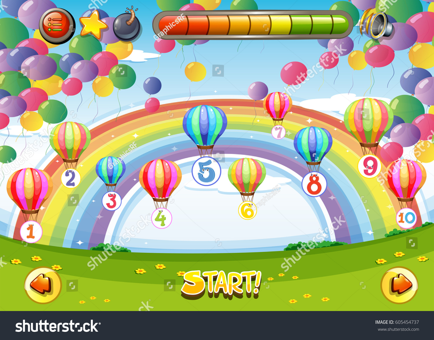 Game Template Balloons Numbers Illustration Stock Vector