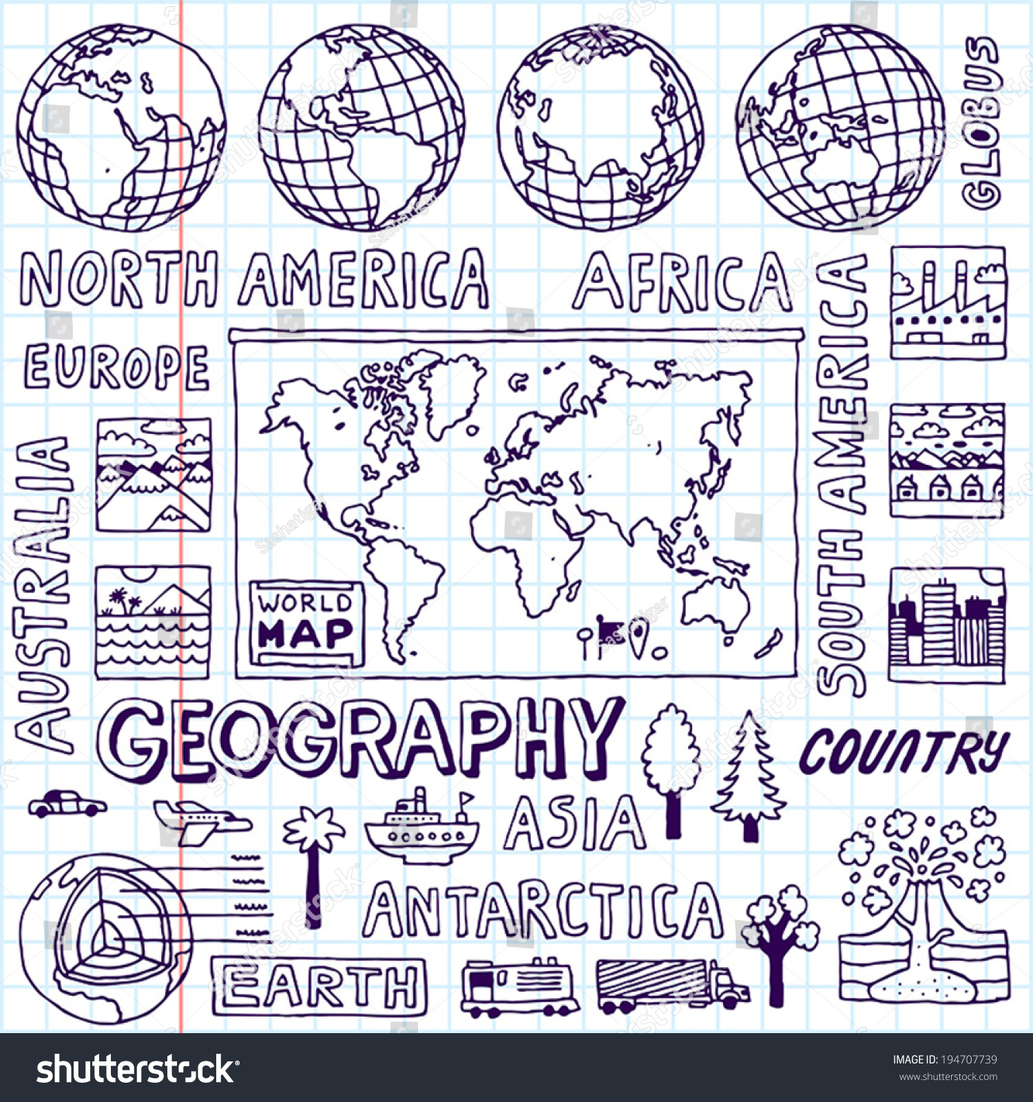 Geography Hand Drawn Vector Illustration School Stock