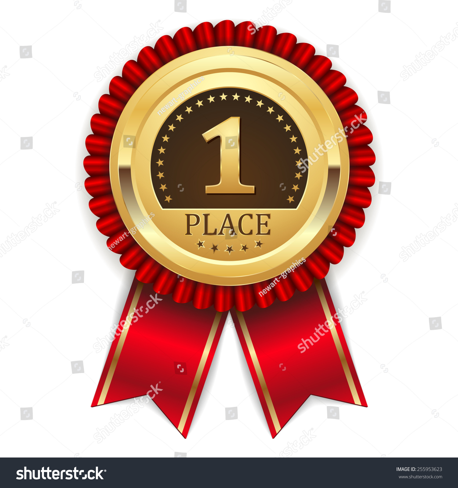 Gold First Place Badge Red Ribbon Stock Vector