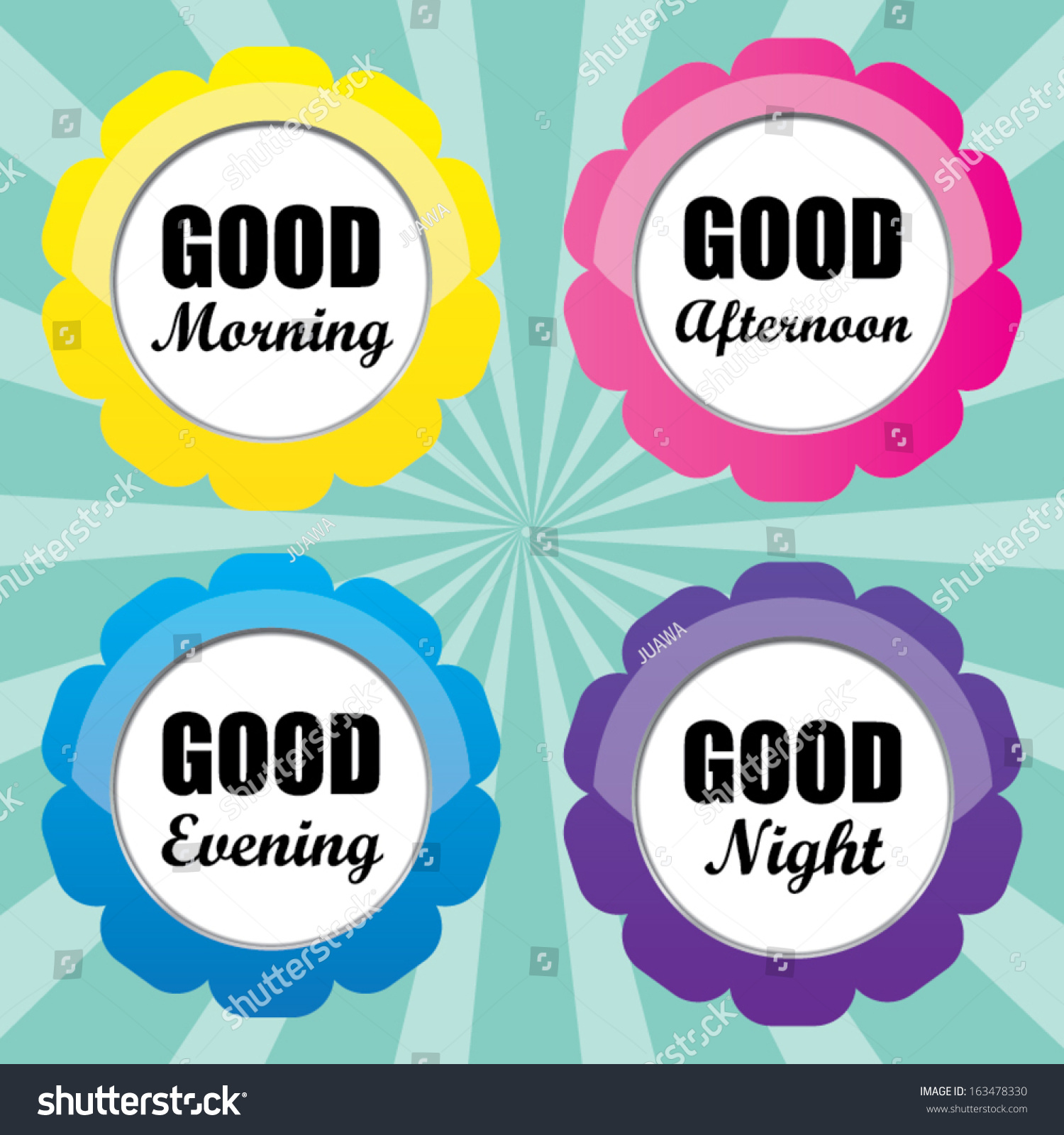 Good Morning Good Afternoon Good Evening Stock Vector