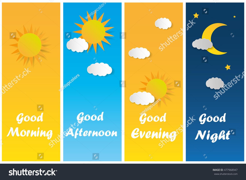 Good Morning Good Night Day Evening Stock Vector