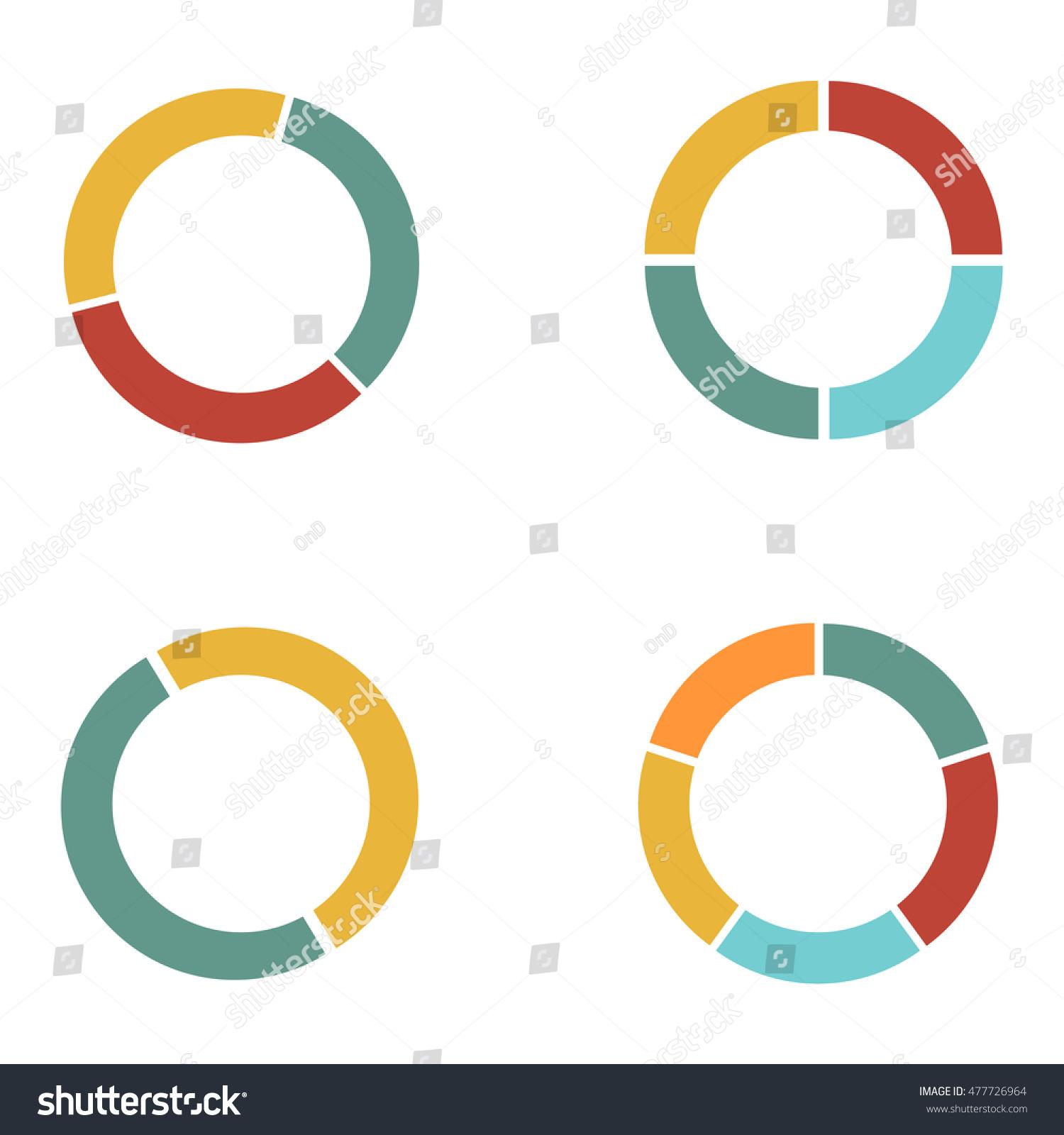 Graph Circle Set Pie Graph 4 Pie Graphs Illustration