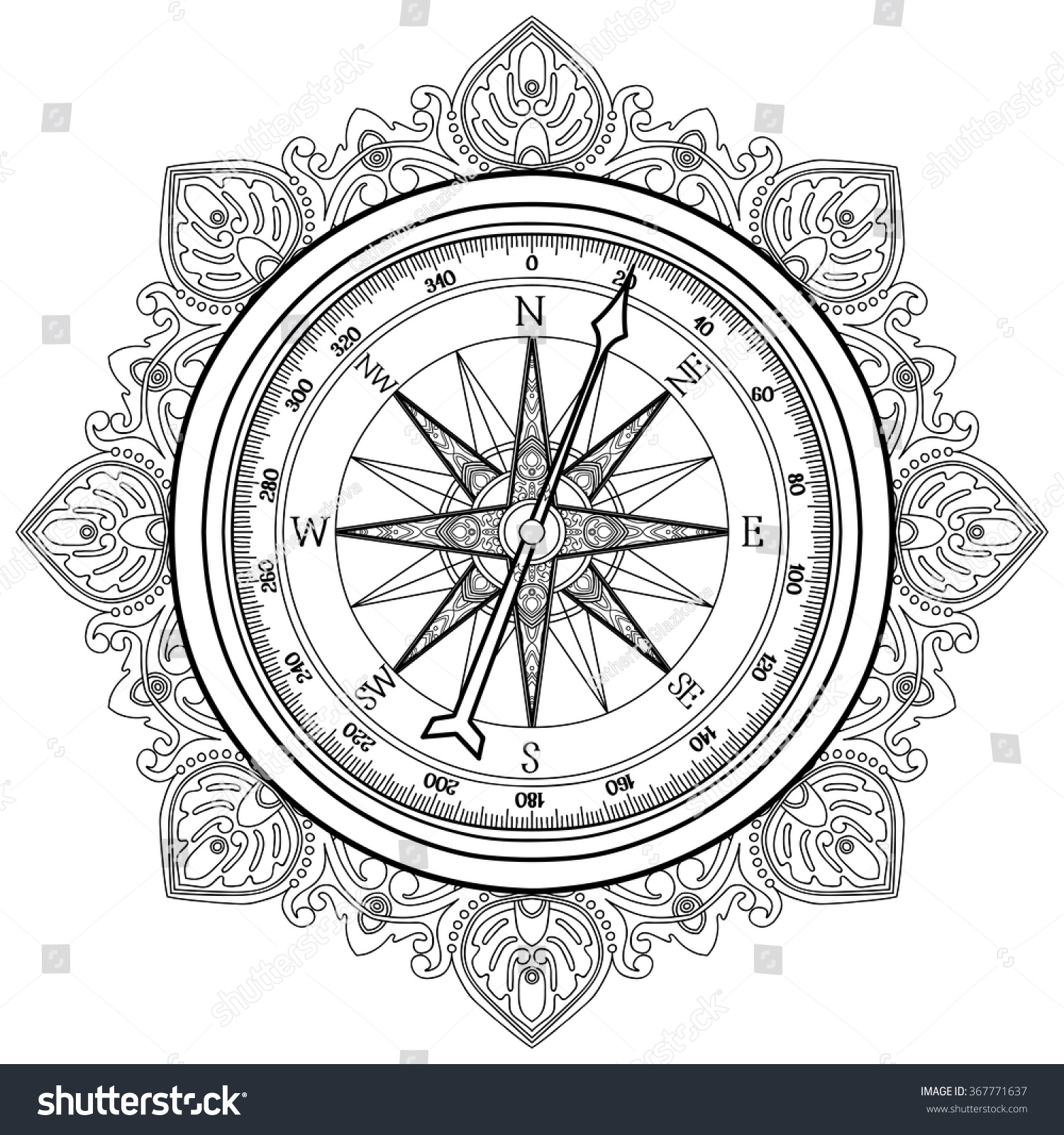 Graphic Wind Rose Compass Drawn Line Stock Vector
