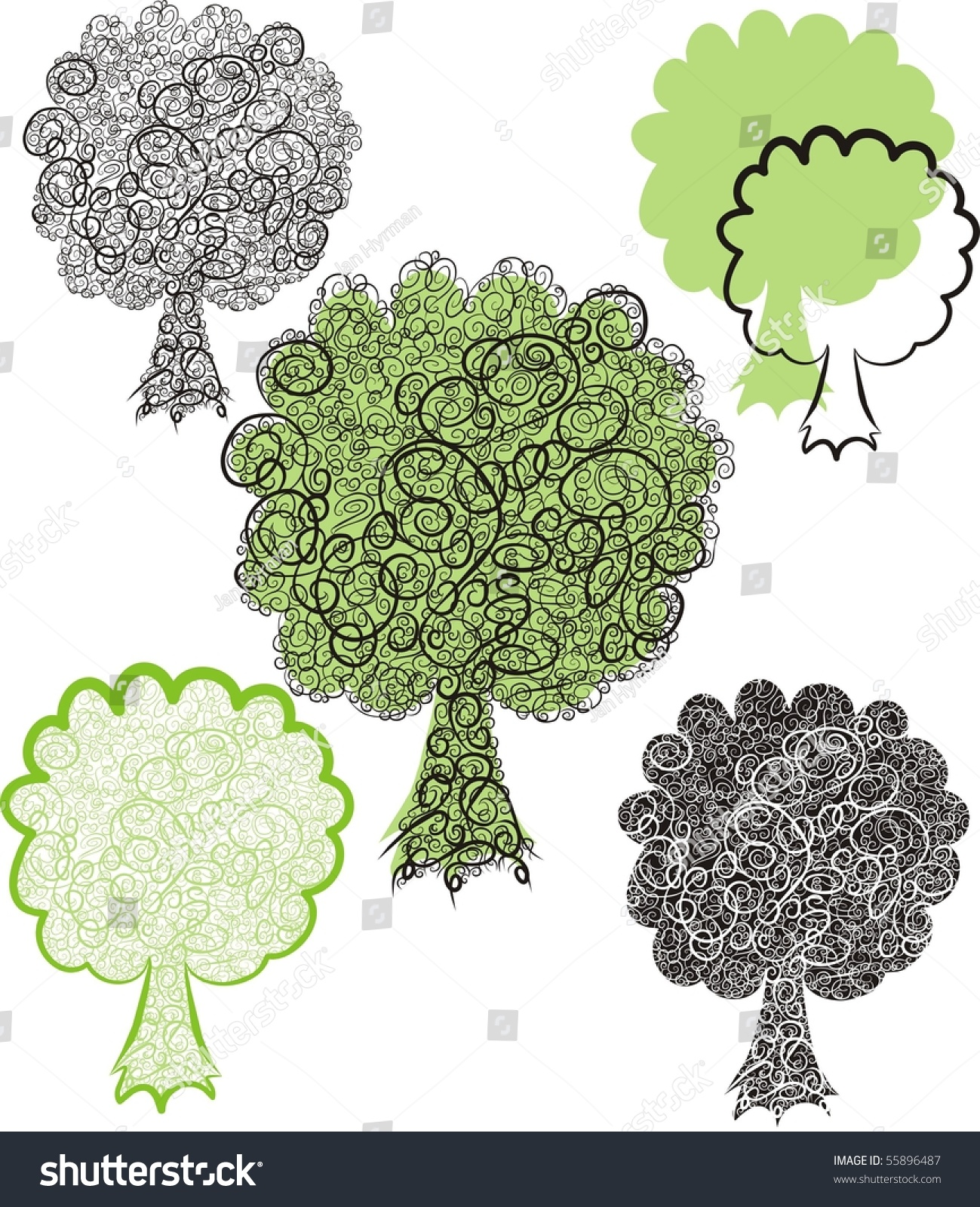 Green Tree Color Vector Illustration Stock Vector