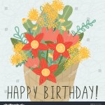 Greeting Card Happy Birthday Illustration Bouquet Stock Vector Royalty Free 1597297000