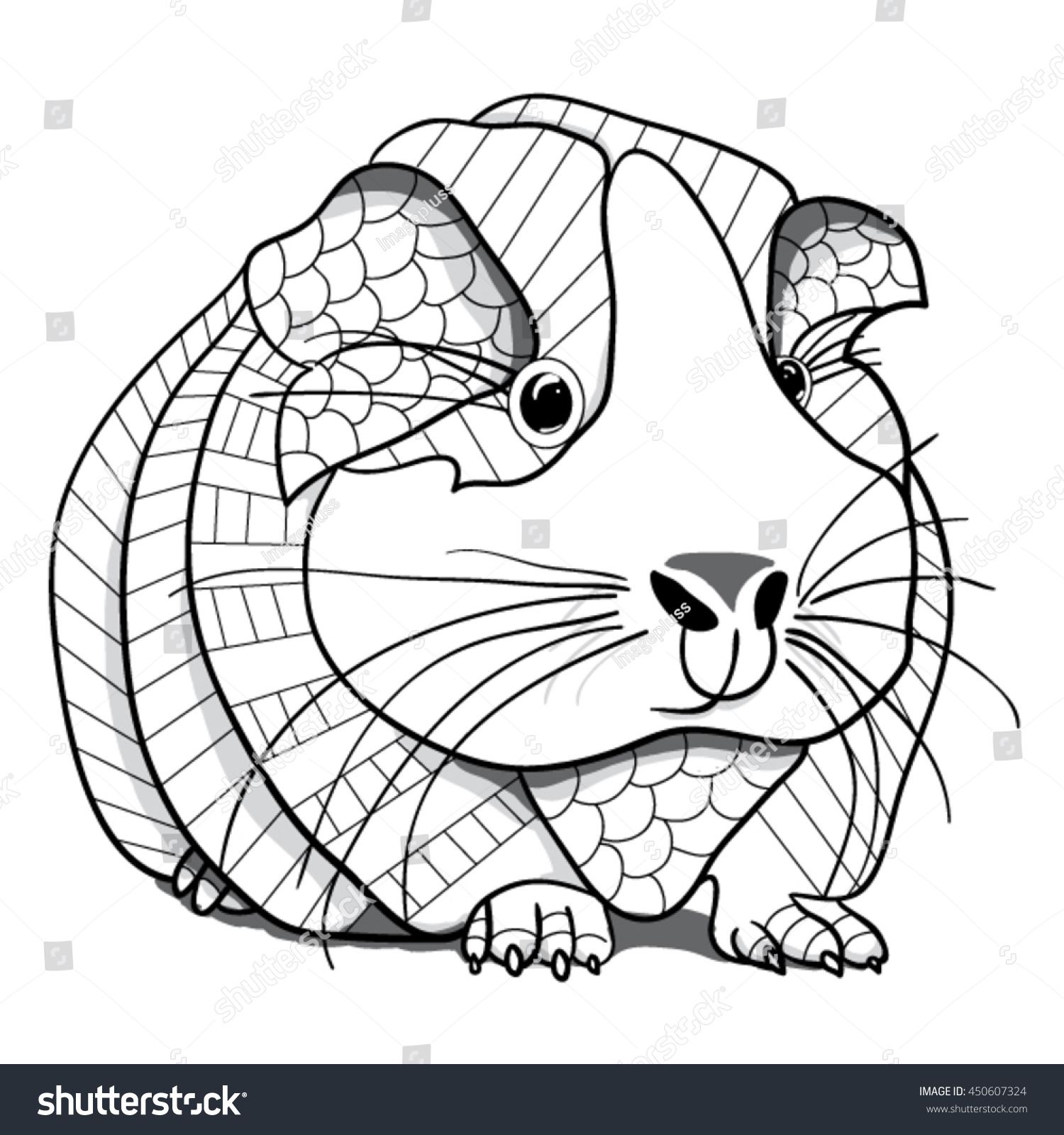 Guinea Pig Coloring Page Stock Vector 450607324 Shutterstock