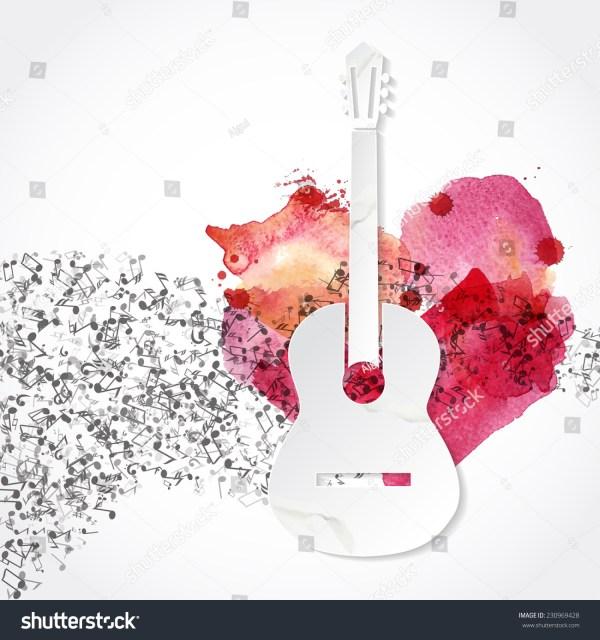Guitar Shape Made Paper Watercolor Heart Stock Vector ...