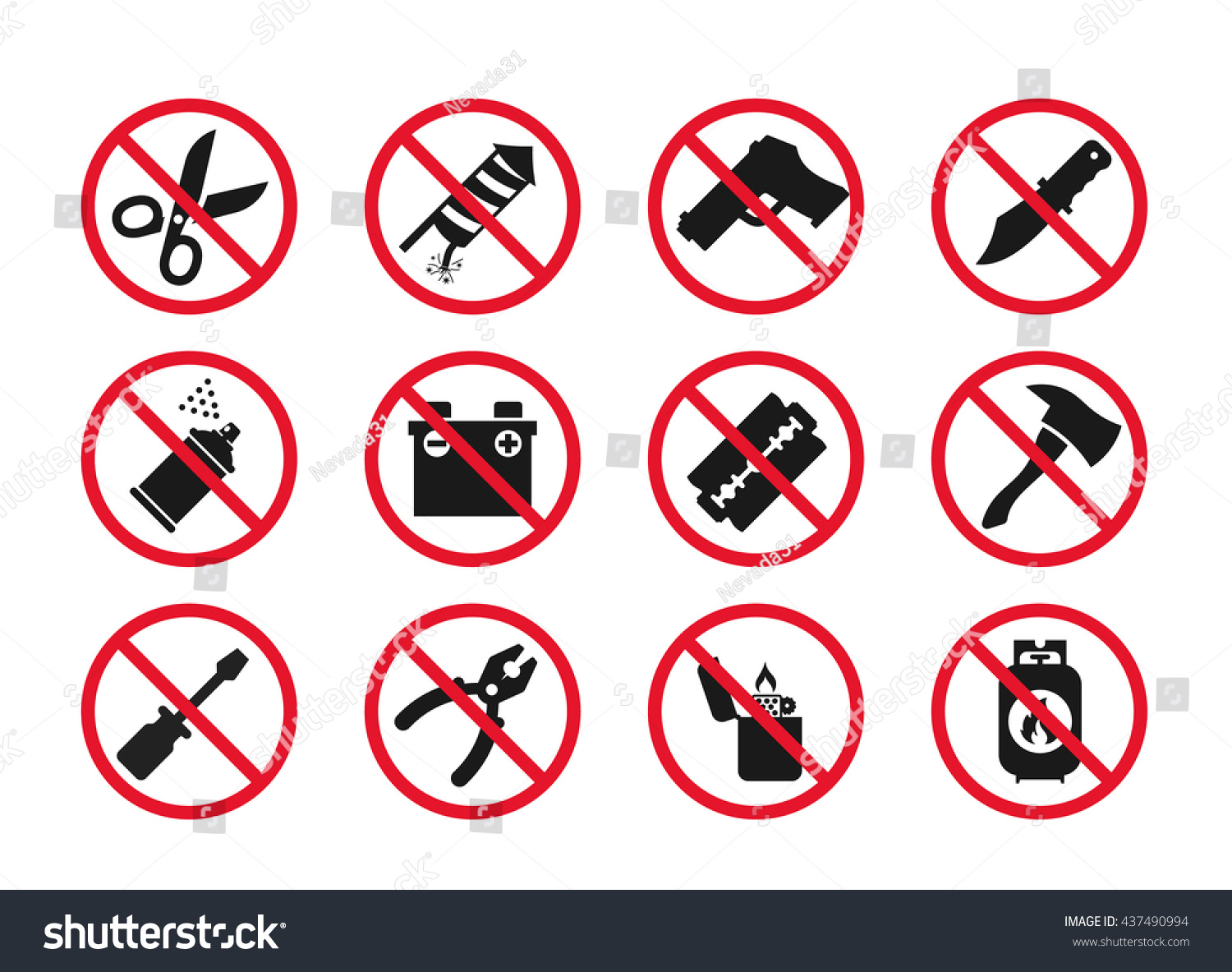 Hand Baggage Prohibited Items Airport Security Stock