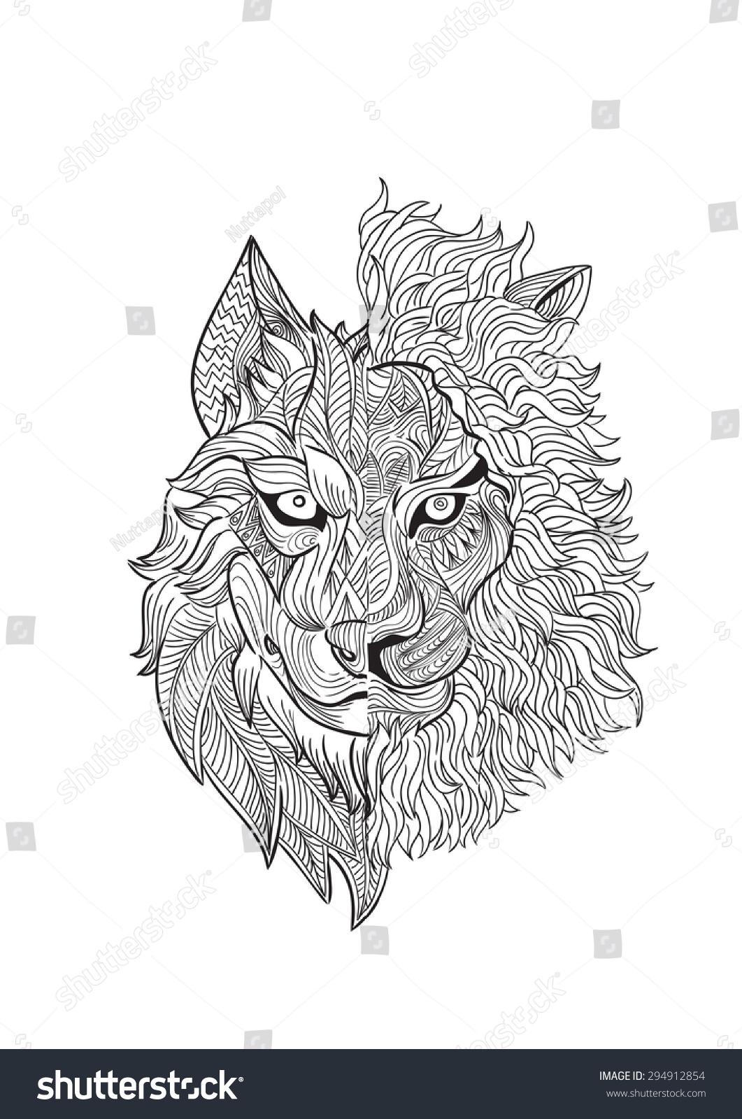 Hand Draw Half Wolf Half Lion Stock Vector