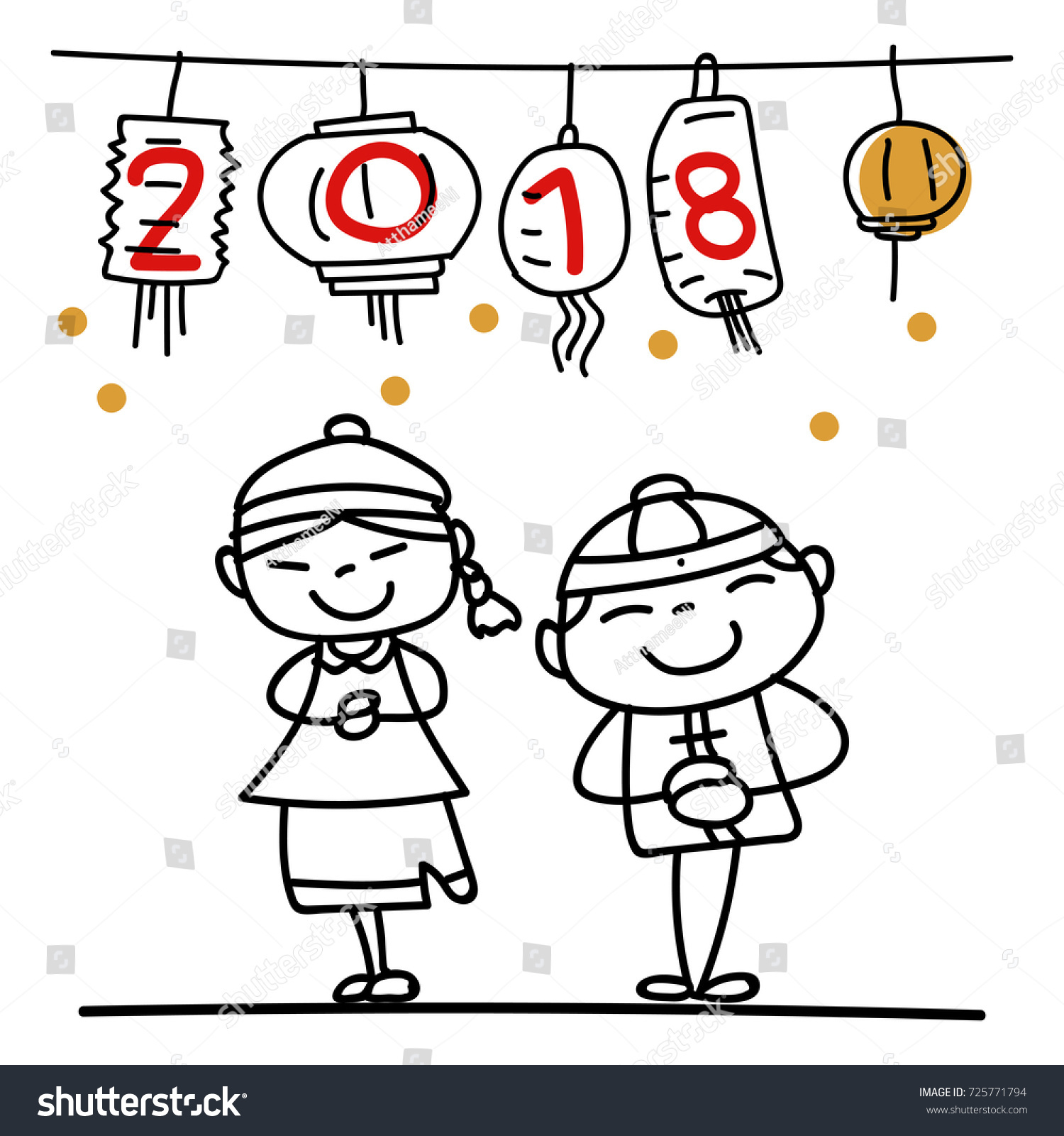 new year drawing cartoon