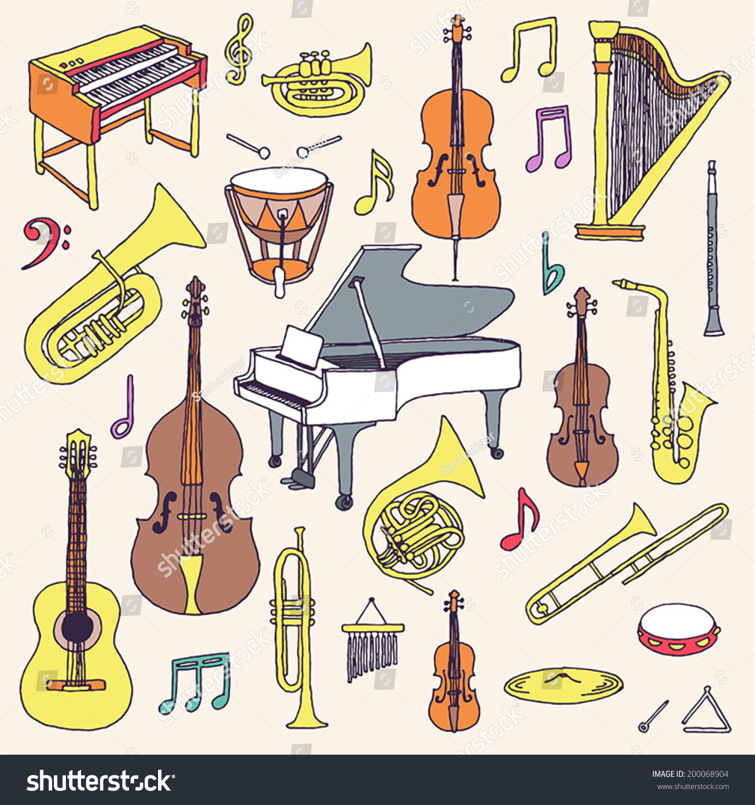 Hand Drawn Colorful Musical Instruments Classical Stock