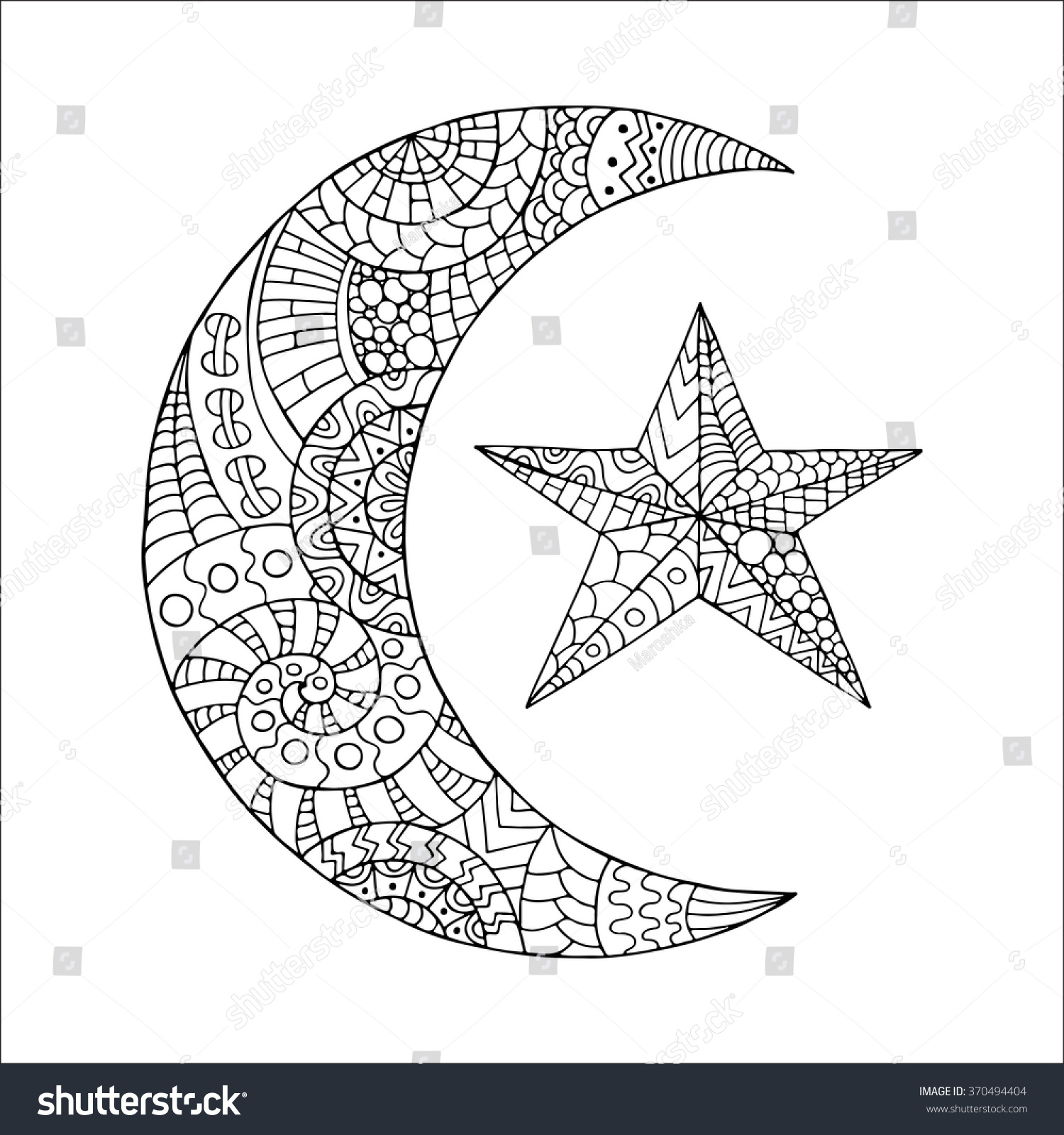 Hand Drawn New Moon And Star For Anti Stress Colouring